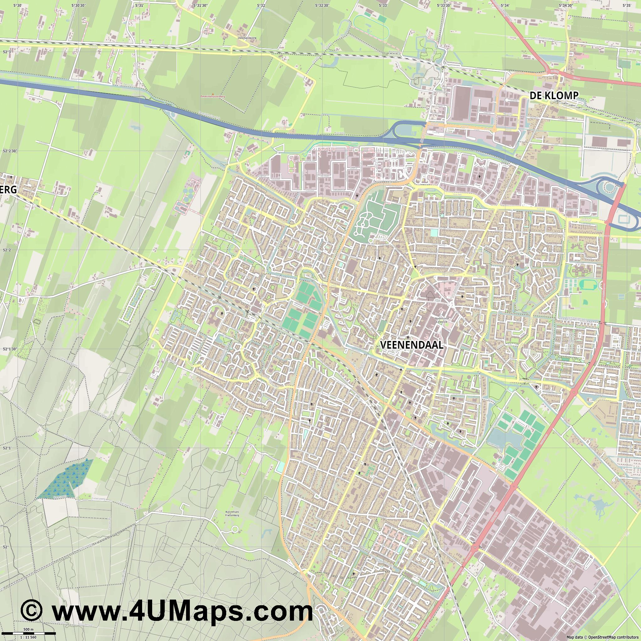 Veenendaal  jpg ultra high detail preview vector city map