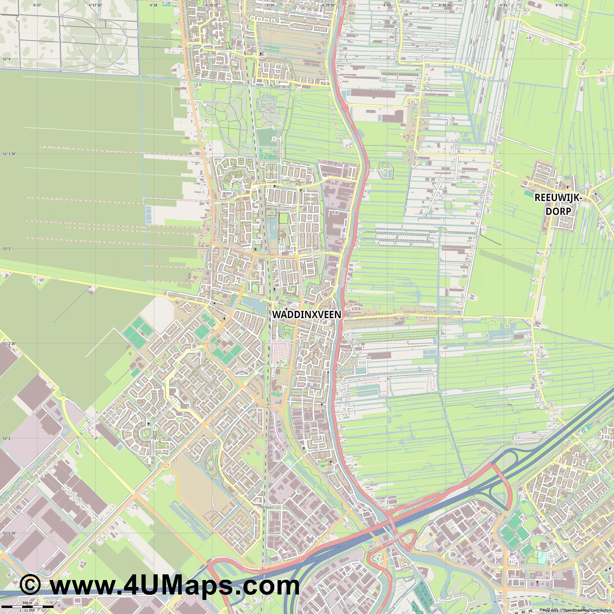 Waddinxveen  jpg ultra high detail preview vector city map