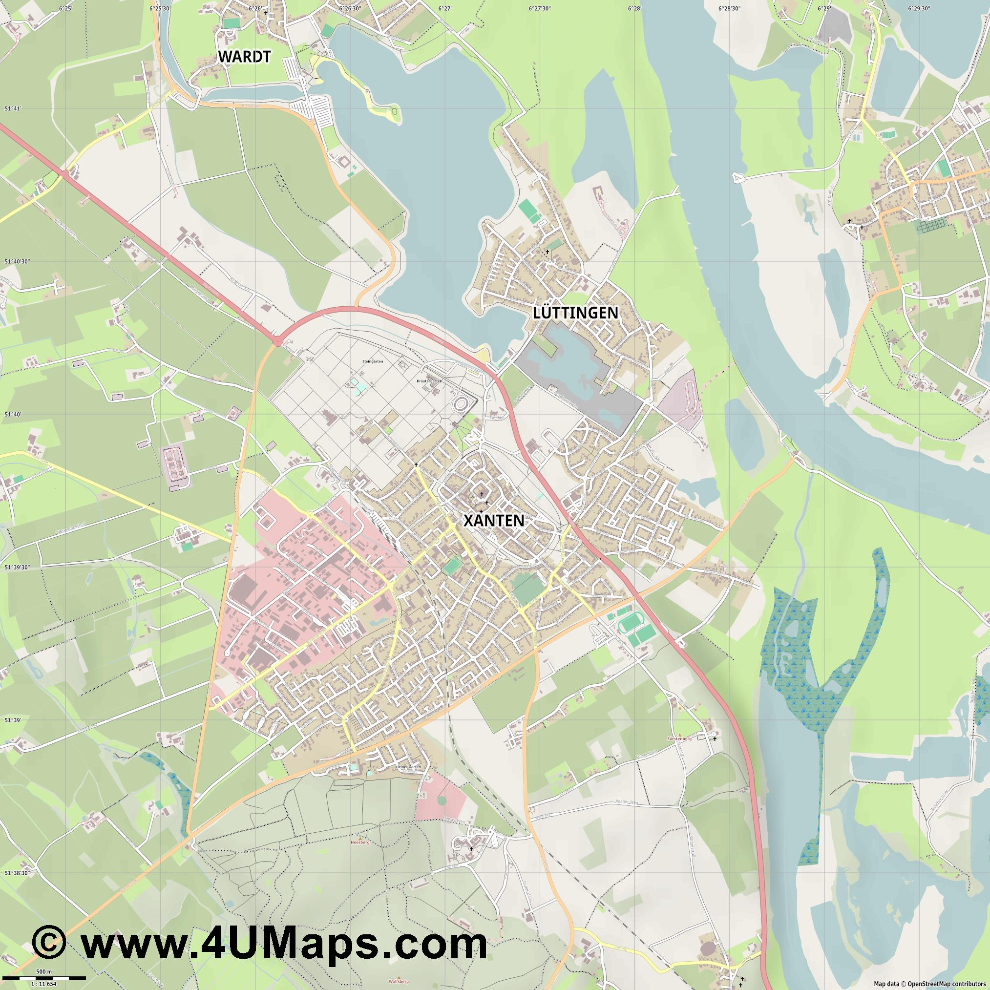Xanten  jpg ultra high detail preview vector city map
