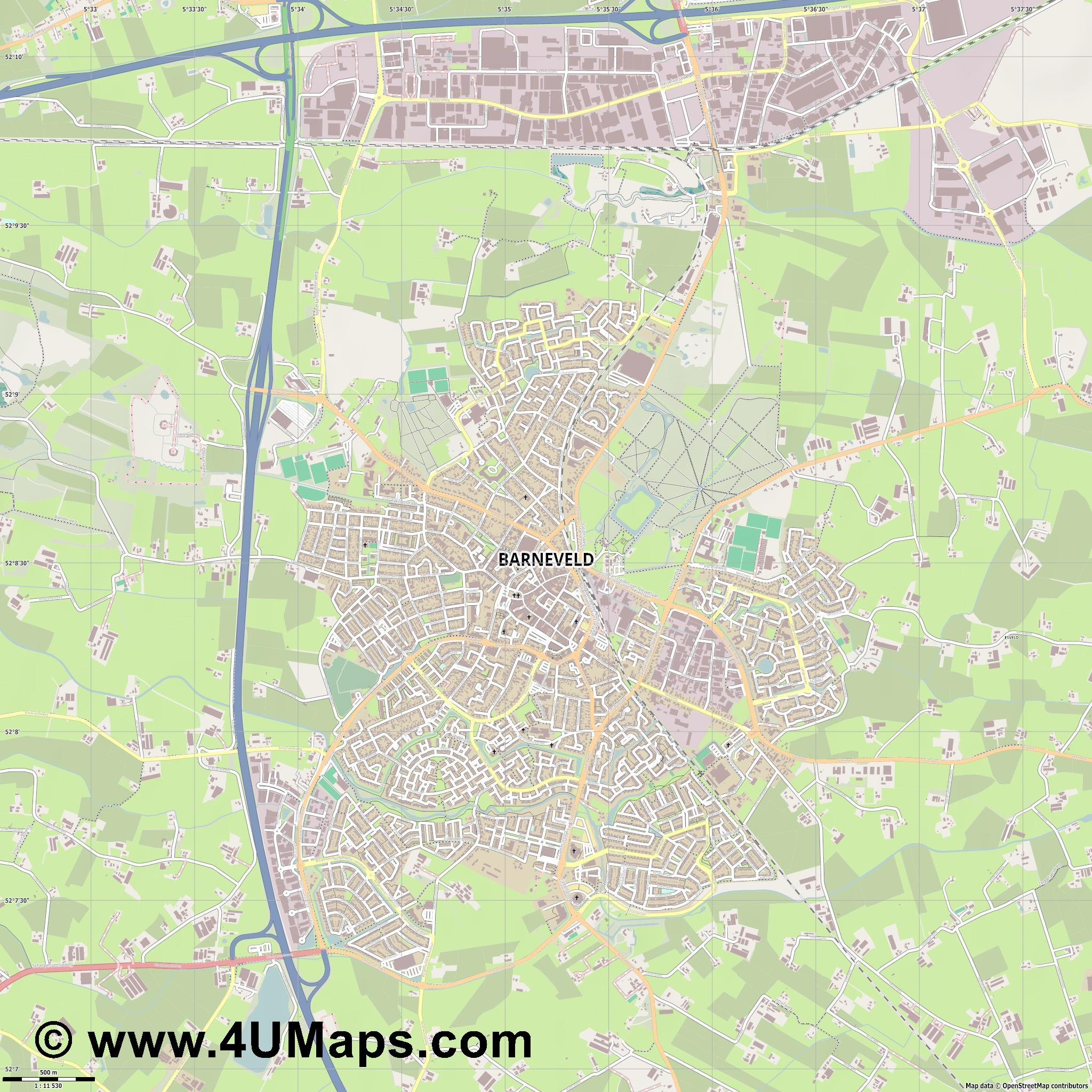 Barneveld  jpg ultra high detail preview vector city map