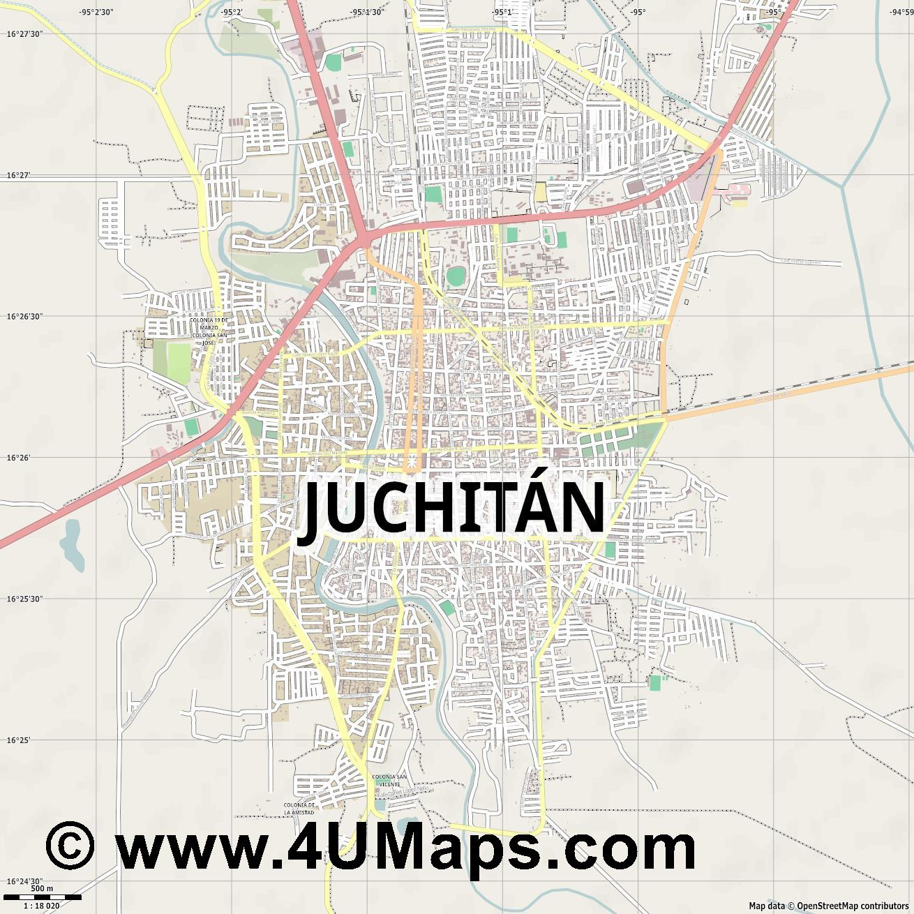 Juchitán de Zaragoza  jpg ultra high detail preview vector city map