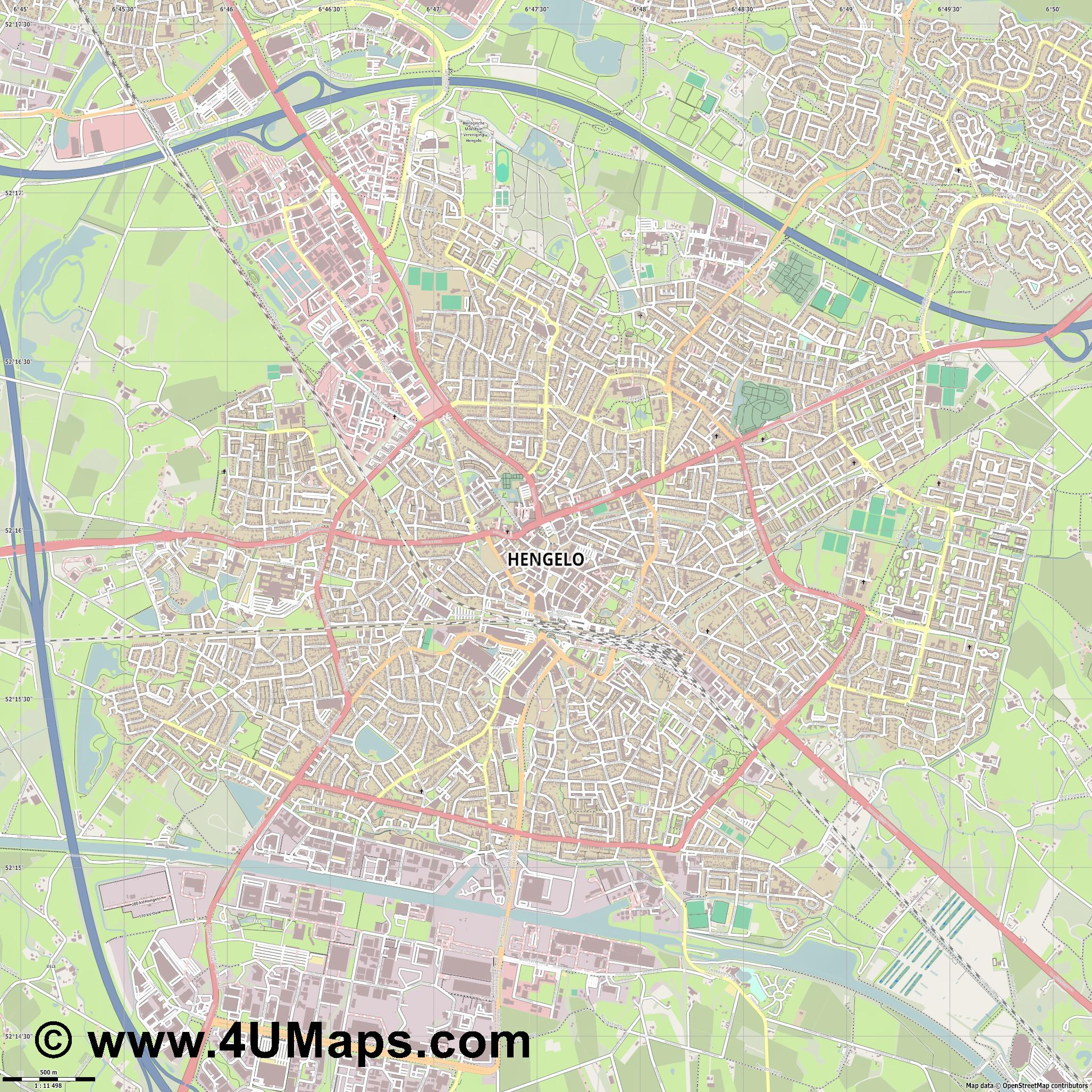 Hengelo  jpg ultra high detail preview vector city map