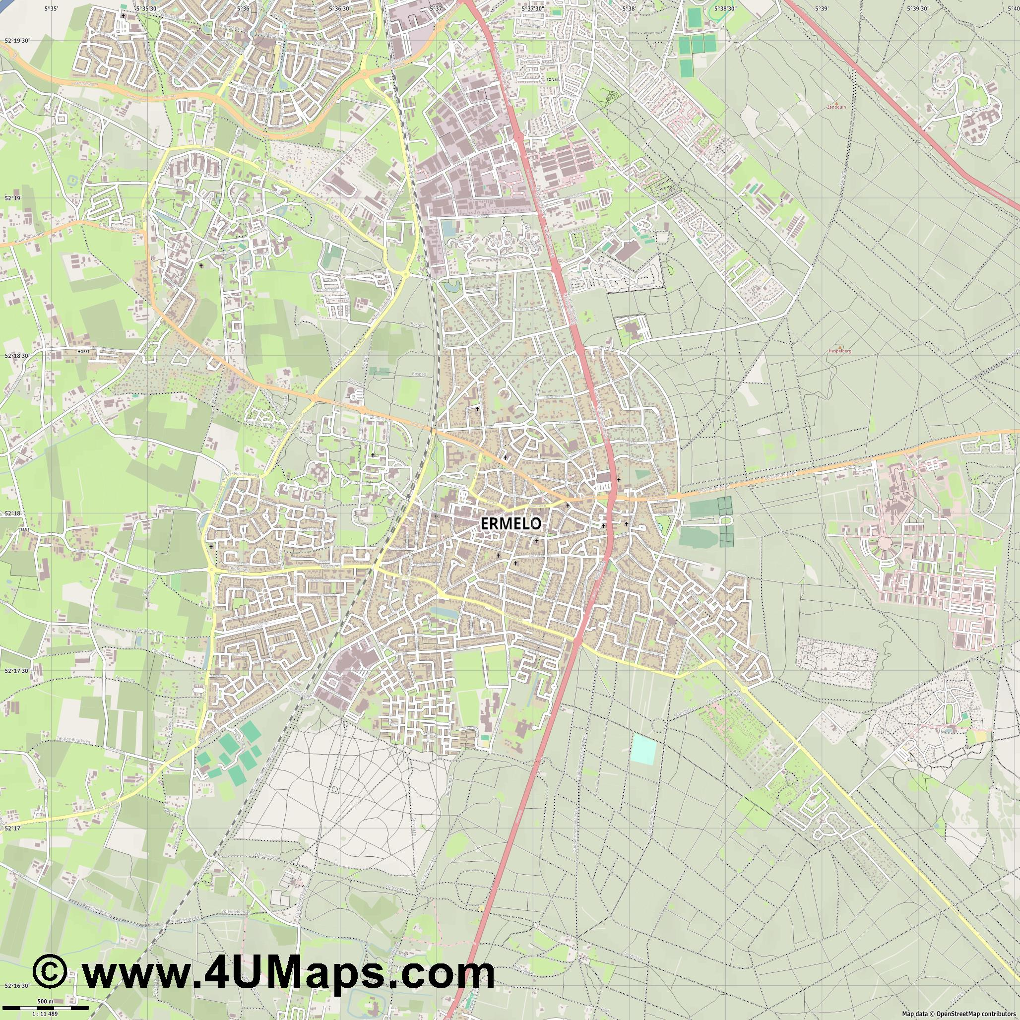 Ermelo  jpg ultra high detail preview vector city map