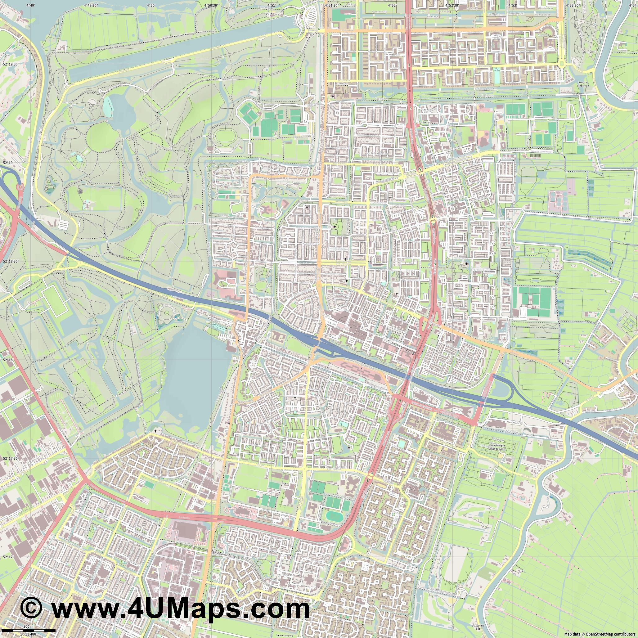 Amstelveen  jpg ultra high detail preview vector city map
