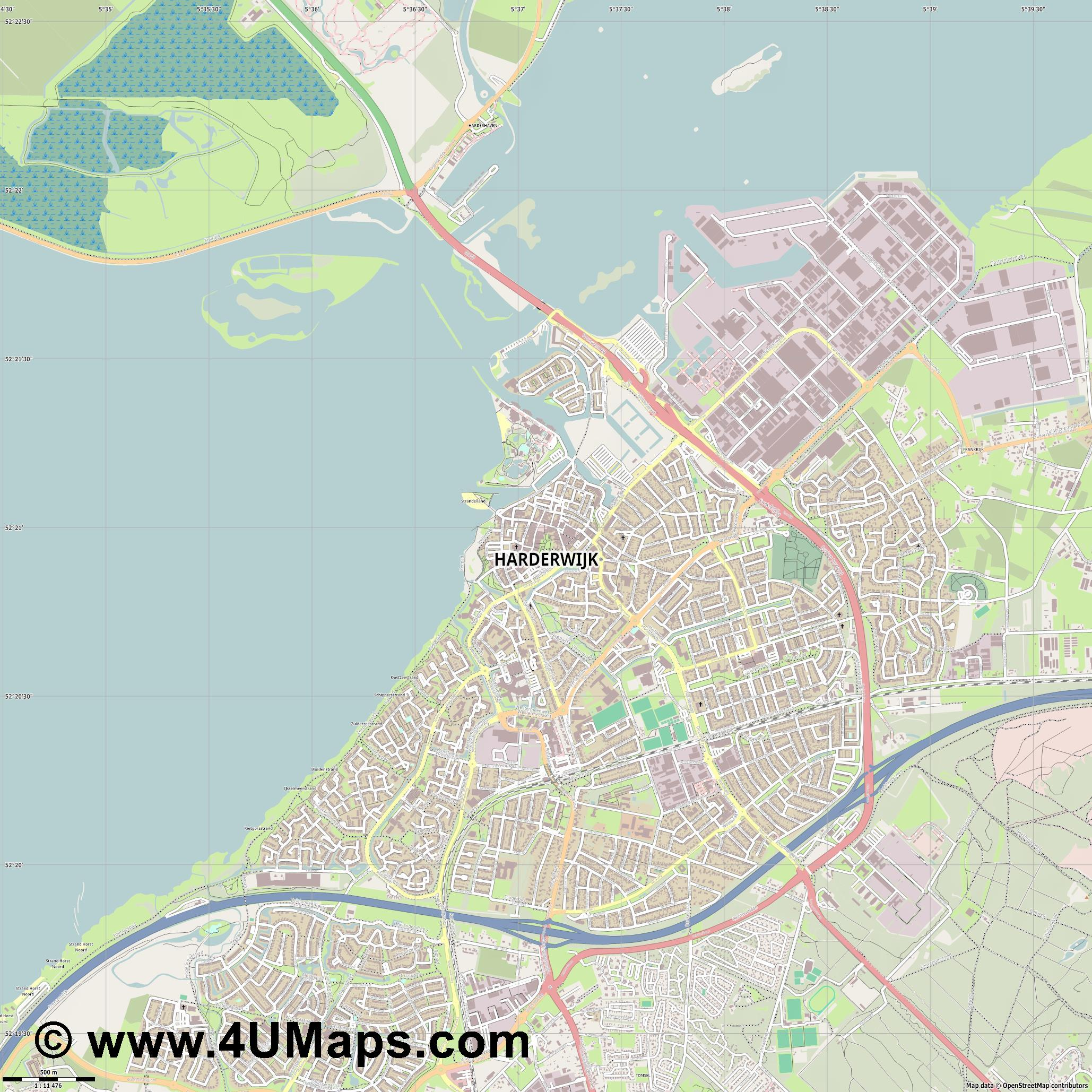 Harderwijk  jpg ultra high detail preview vector city map