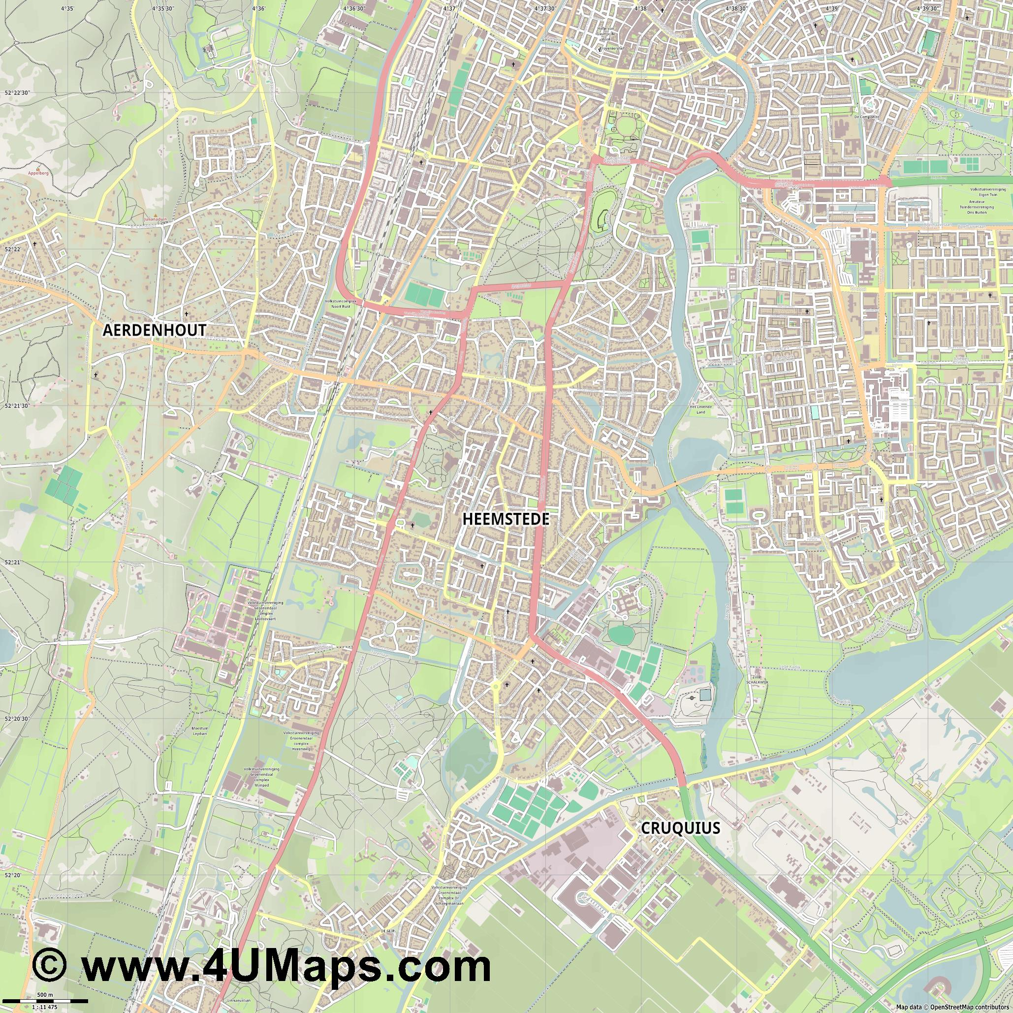 Heemstede  jpg ultra high detail preview vector city map