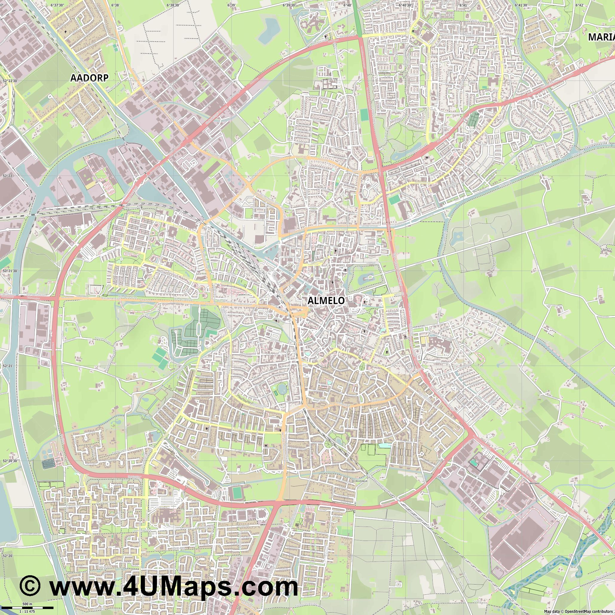 Almelo  jpg ultra high detail preview vector city map