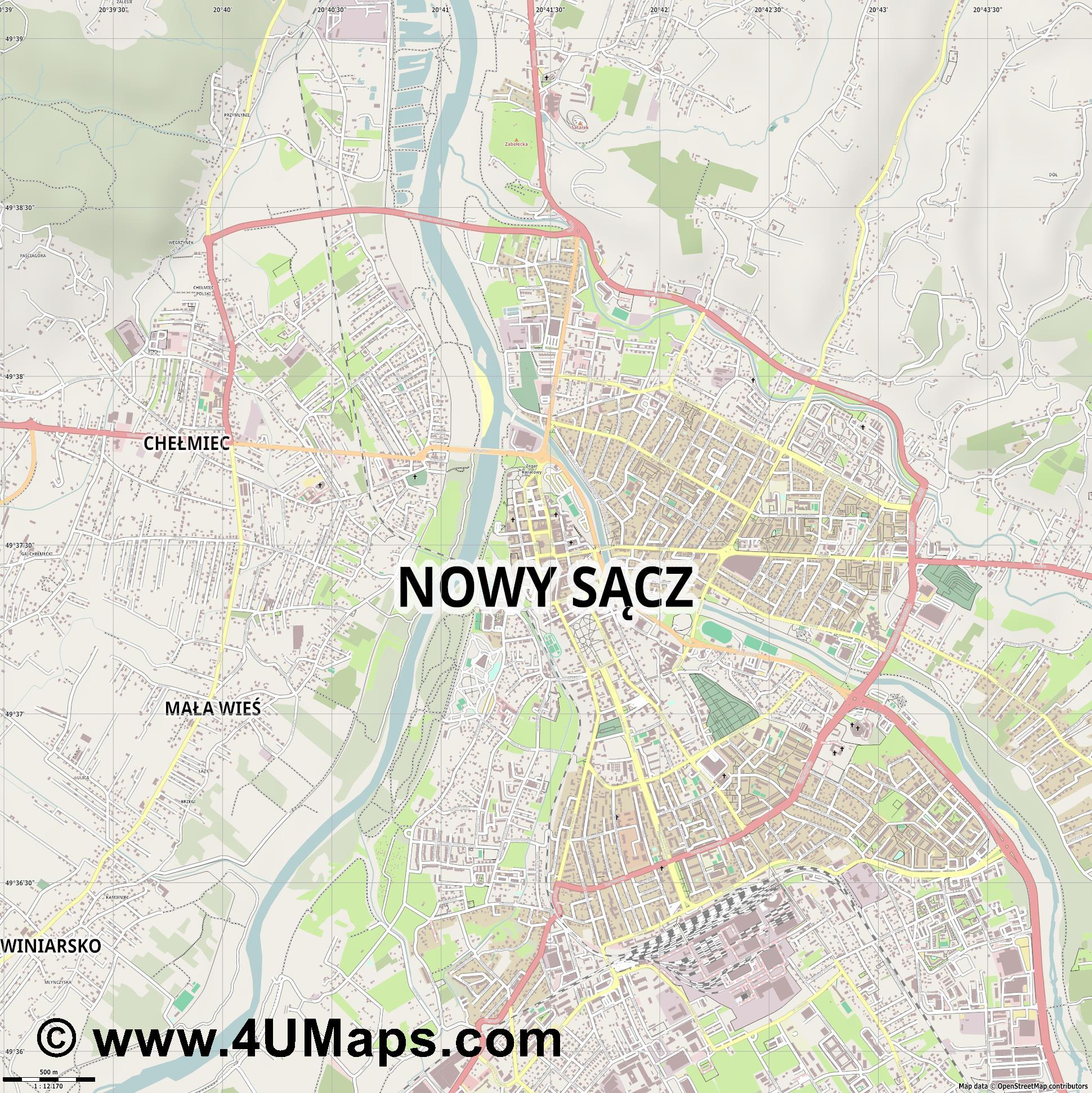 Nowy Sącz Neu Sandez  jpg ultra high detail preview vector city map