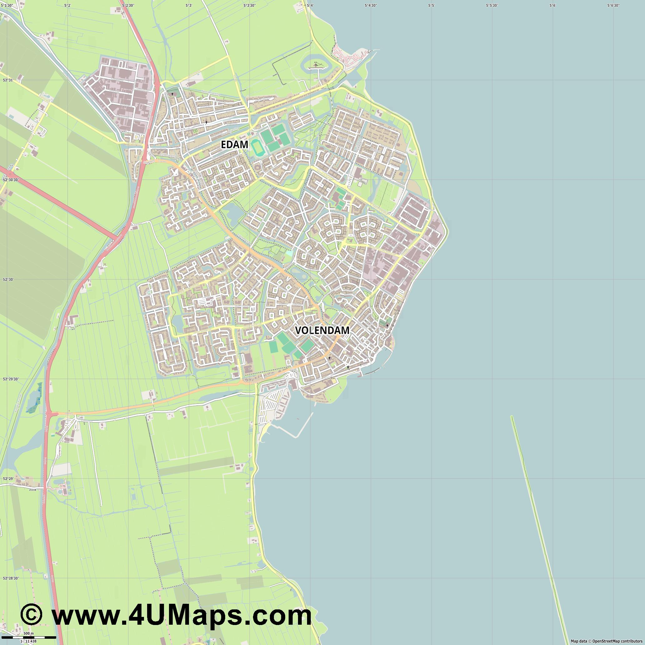 Volendam  jpg ultra high detail preview vector city map