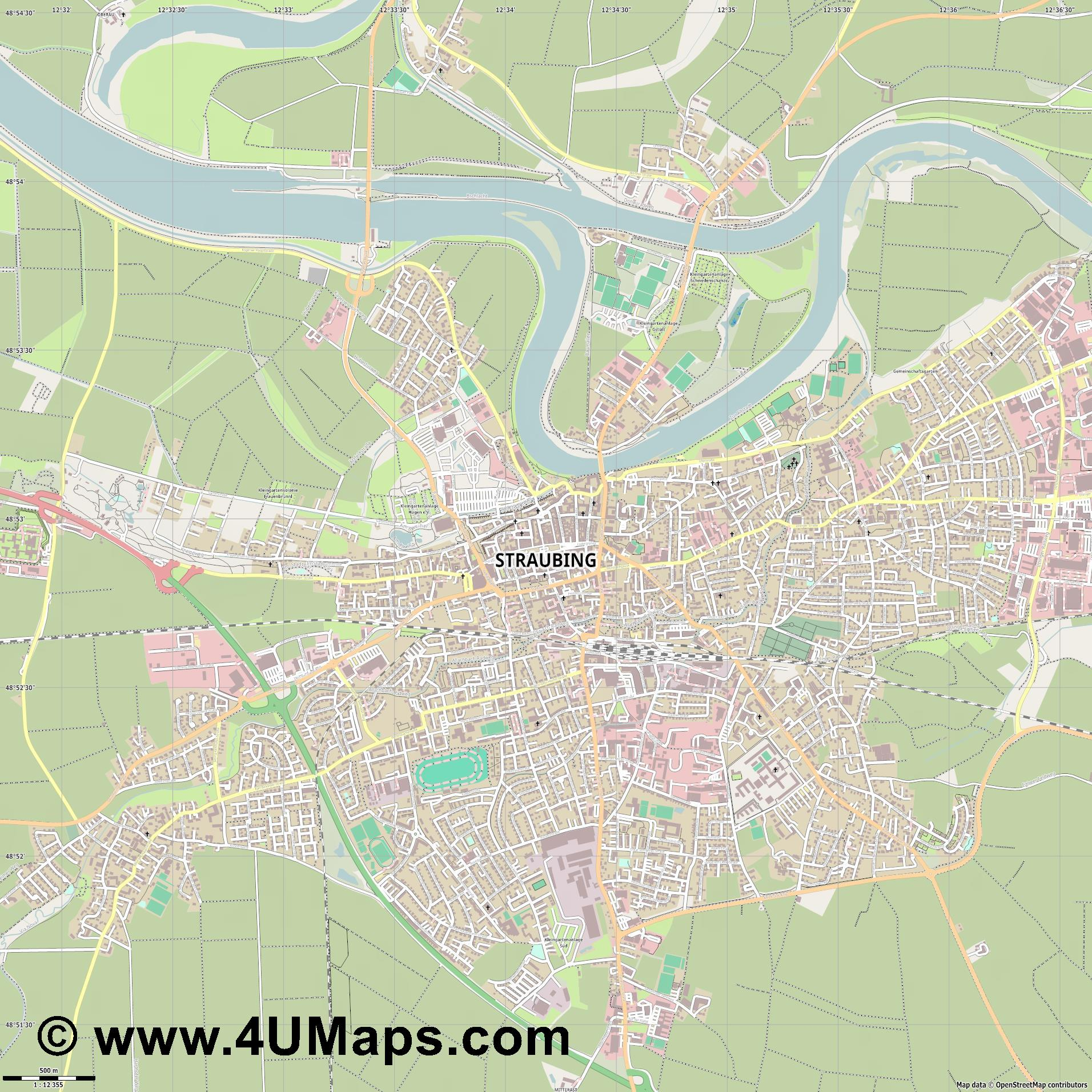 Straubing  jpg ultra high detail preview vector city map