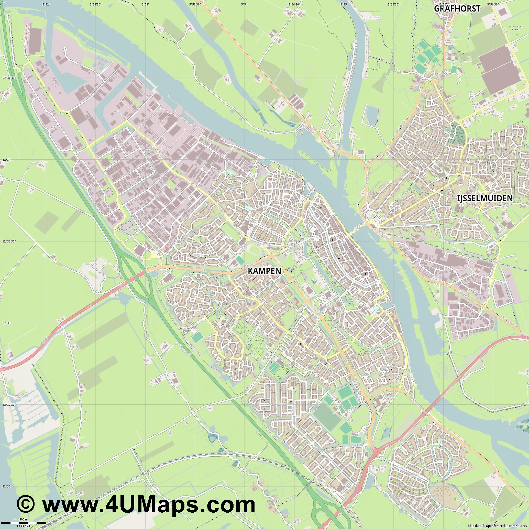 Kampen  jpg ultra high detail preview vector city map