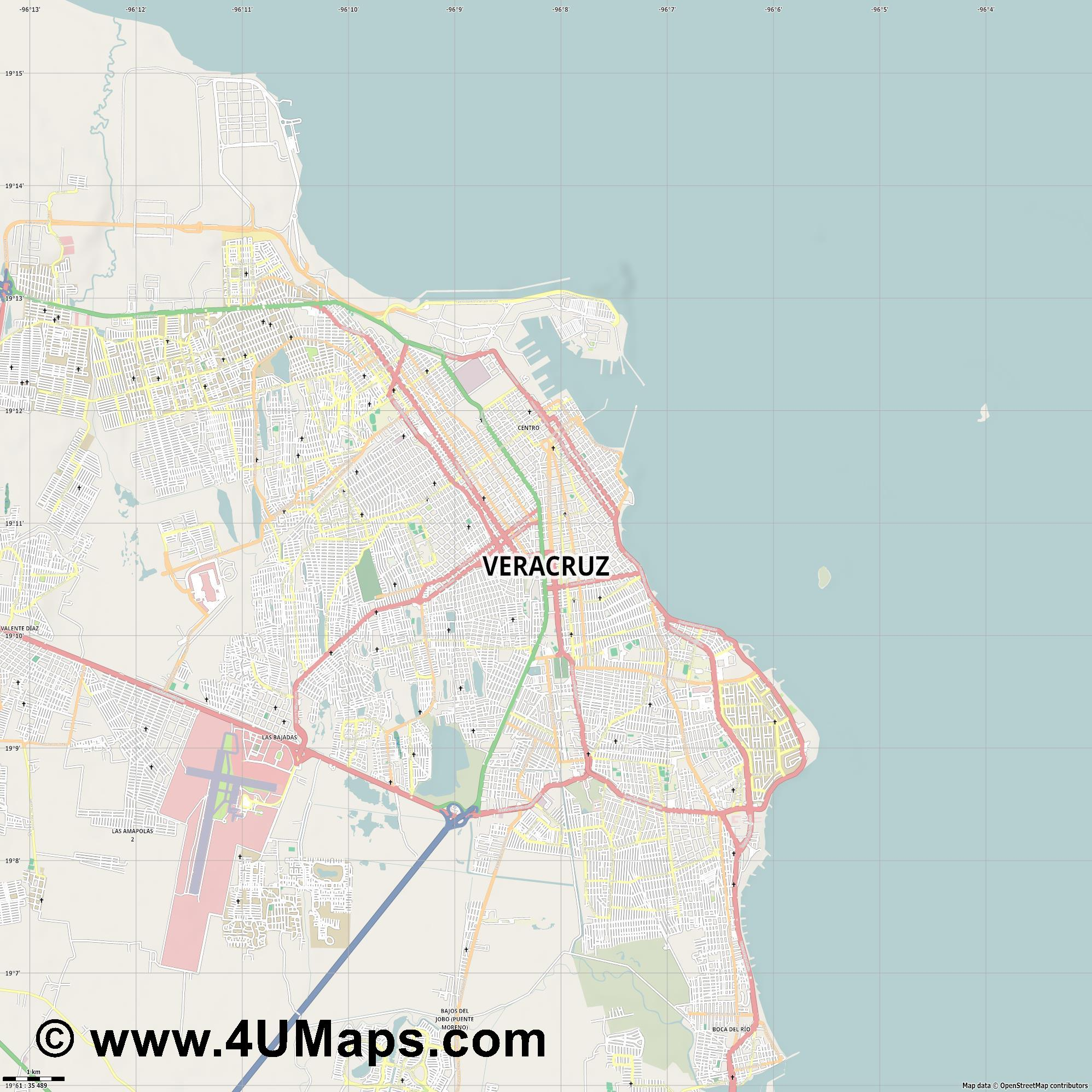 Veracruz  jpg high detail, large area preview vector city map