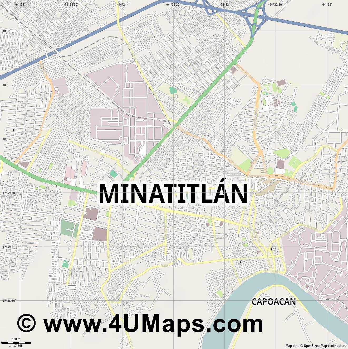 Minatitlán  jpg ultra high detail preview vector city map