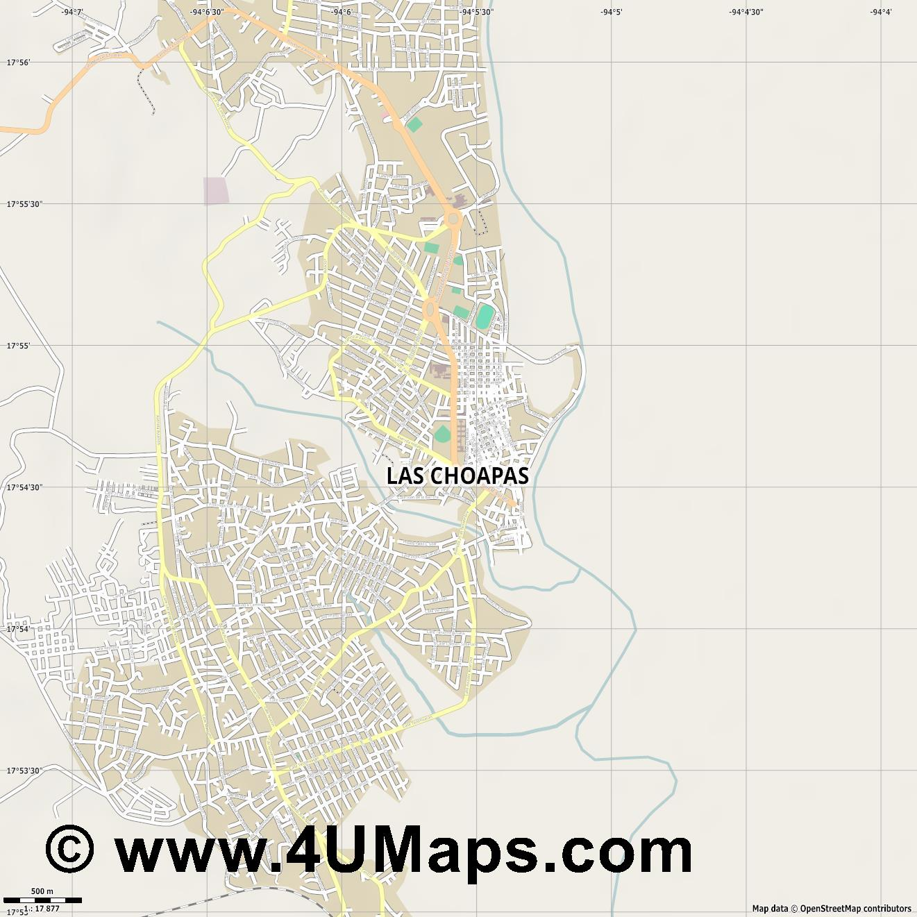 Las Choapas  jpg ultra high detail preview vector city map