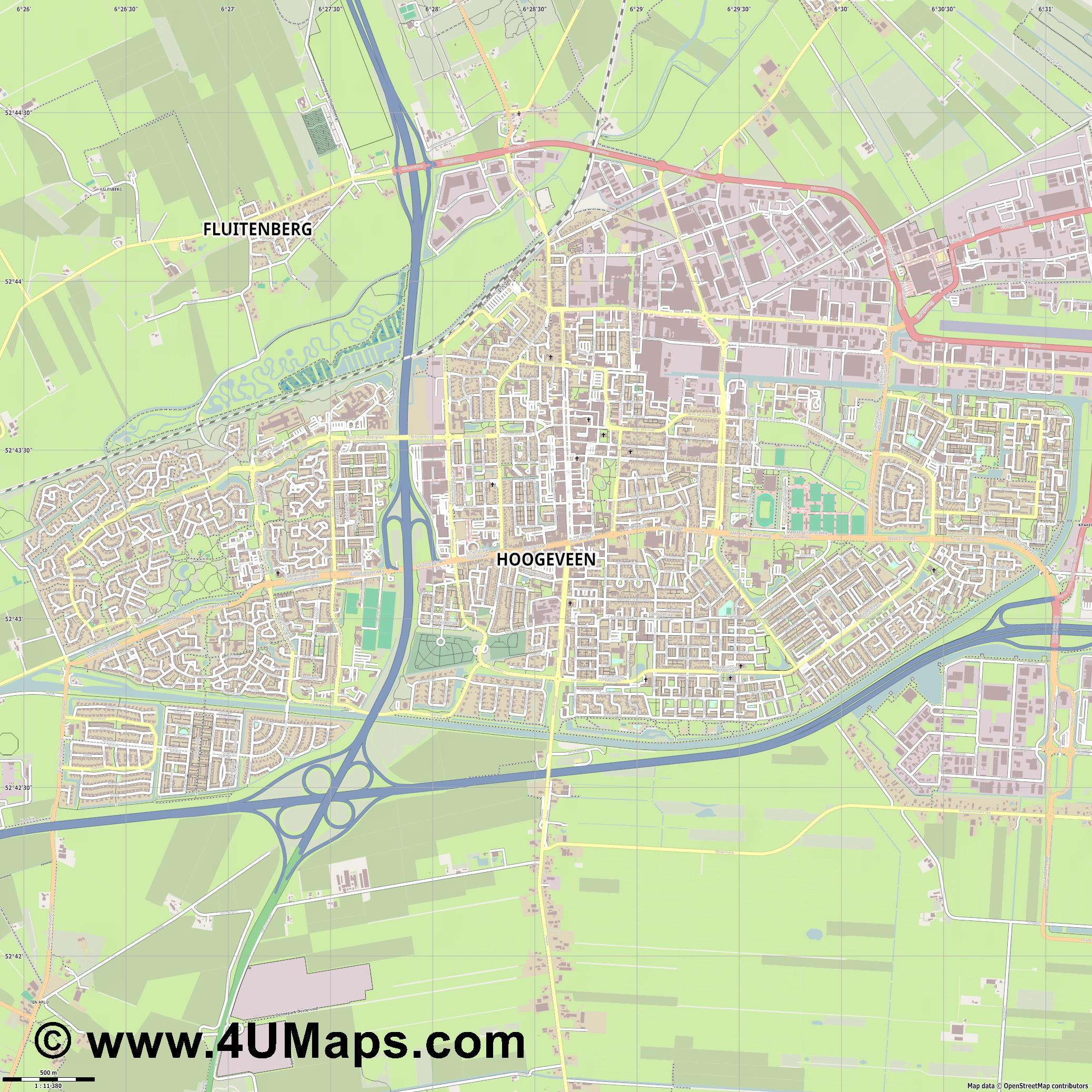 Hoogeveen  jpg ultra high detail preview vector city map