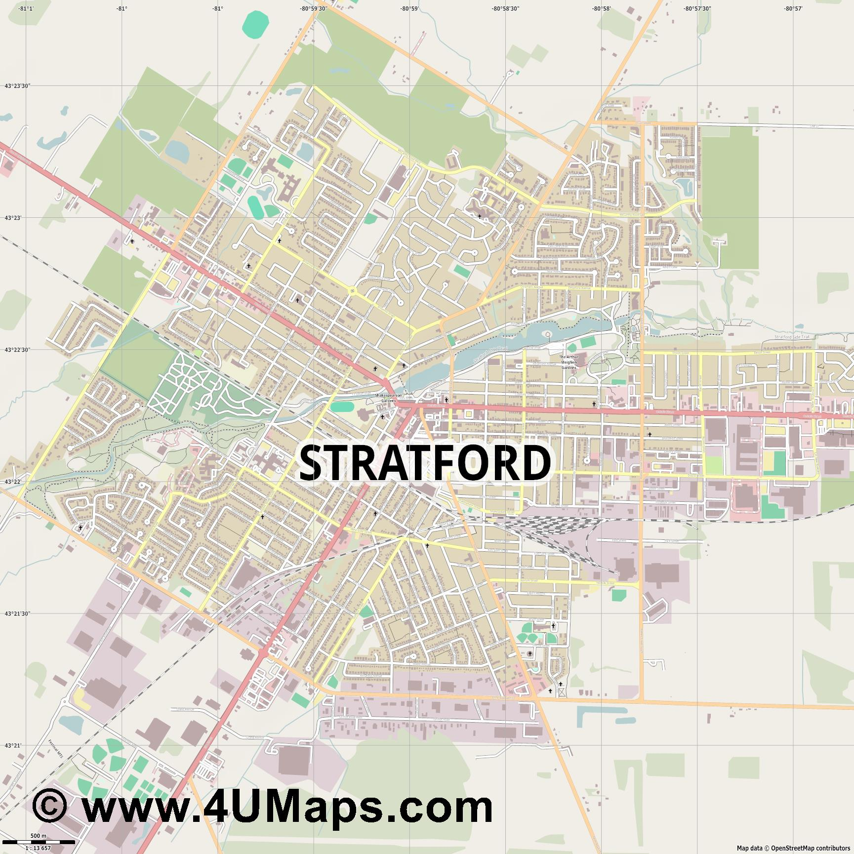 Stratford  jpg ultra high detail preview vector city map