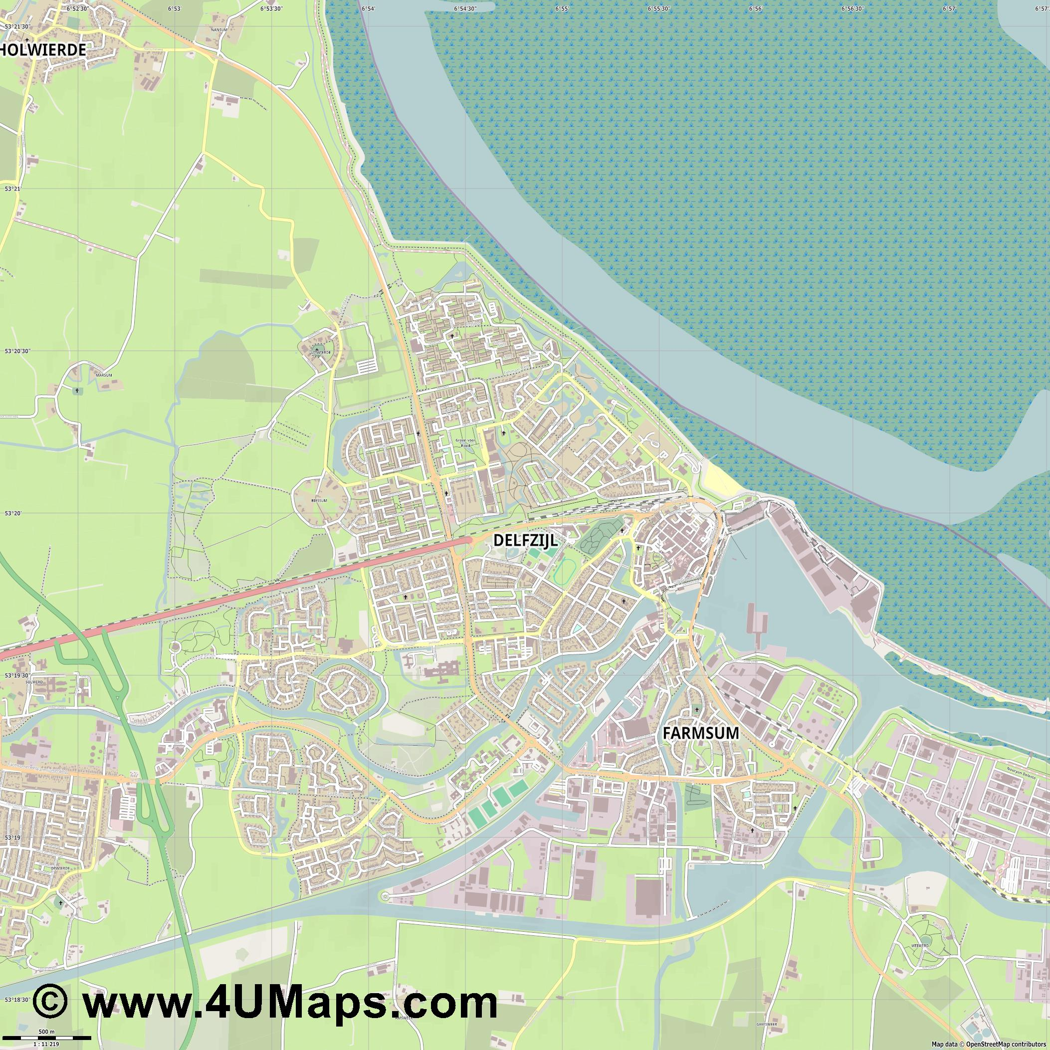 Delfzijl  jpg ultra high detail preview vector city map