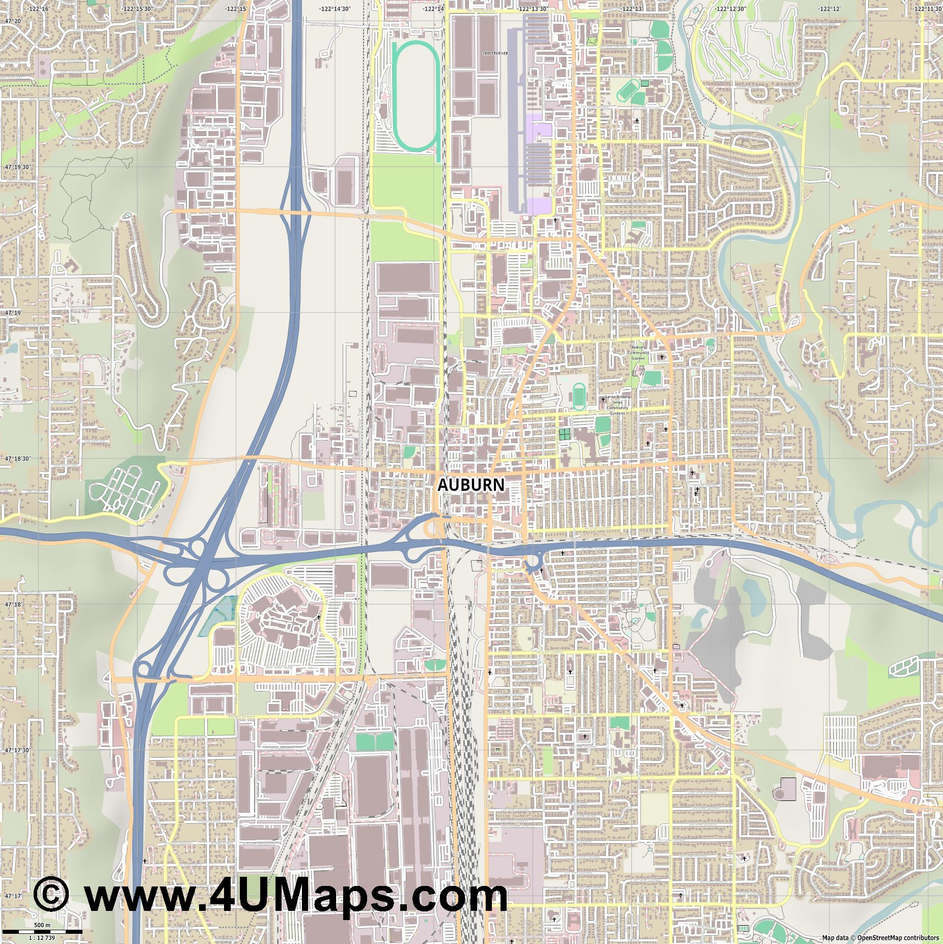 Auburn  jpg ultra high detail preview vector city map