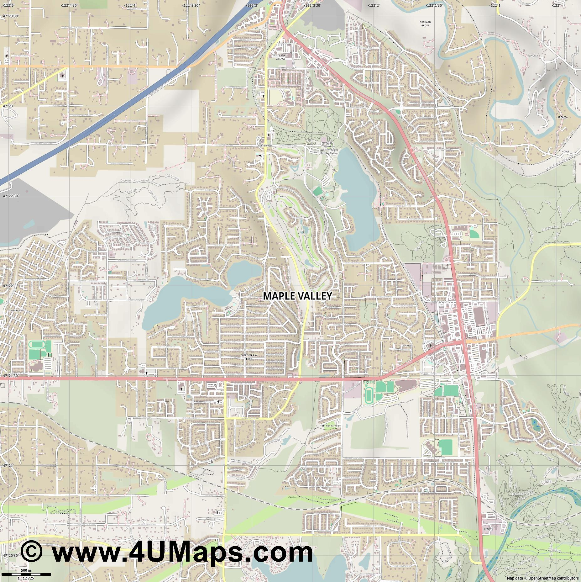 Maple Valley  jpg ultra high detail preview vector city map