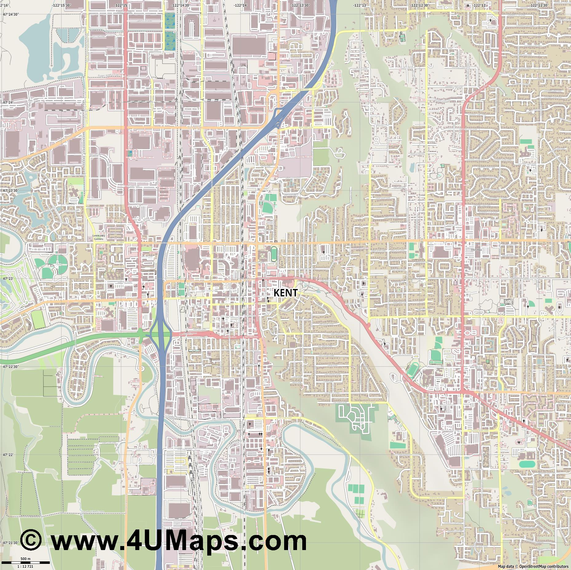 Kent  jpg ultra high detail preview vector city map