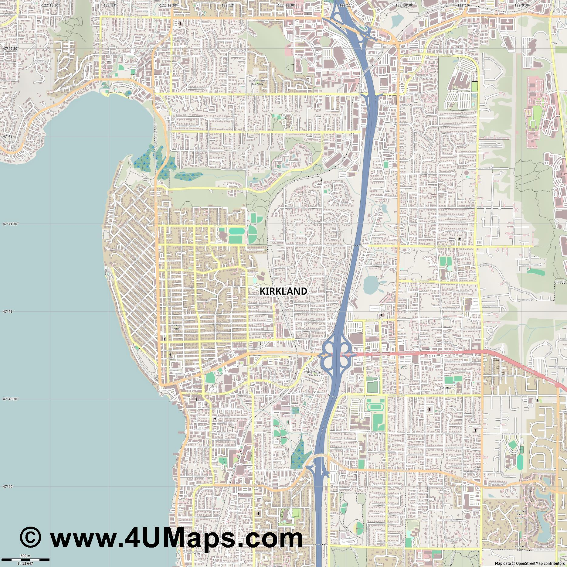 Kirkland  jpg ultra high detail preview vector city map
