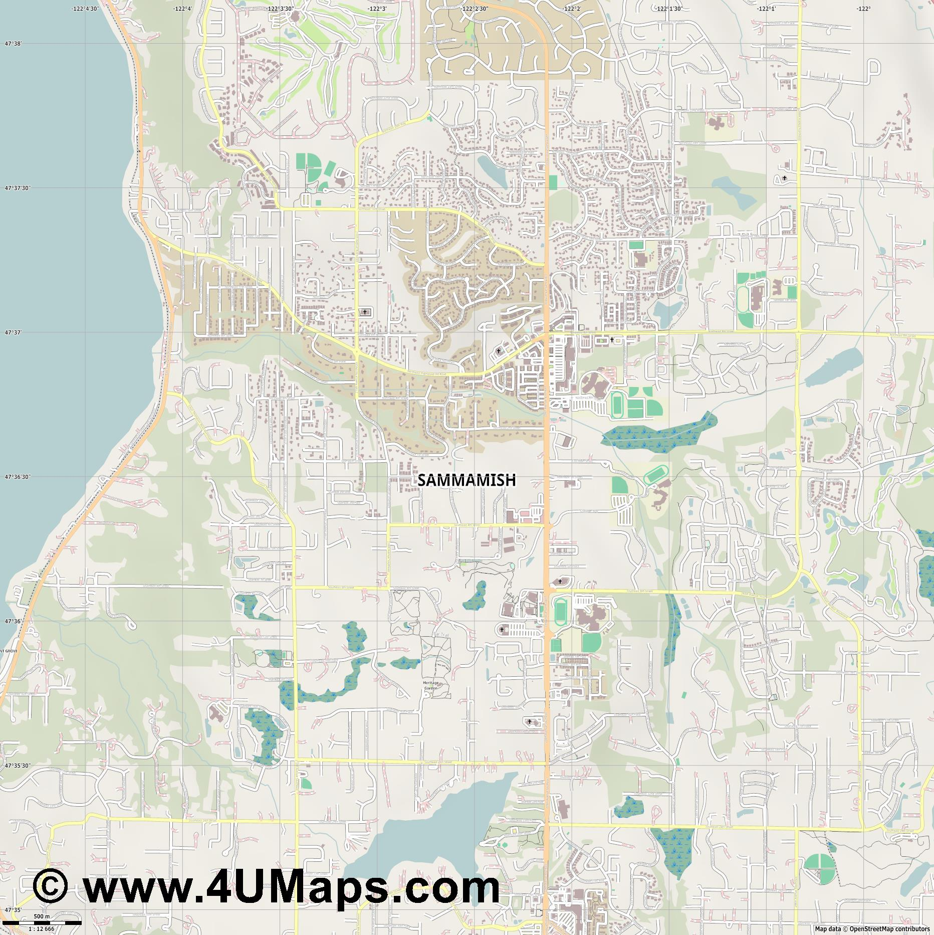Sammamish  jpg ultra high detail preview vector city map