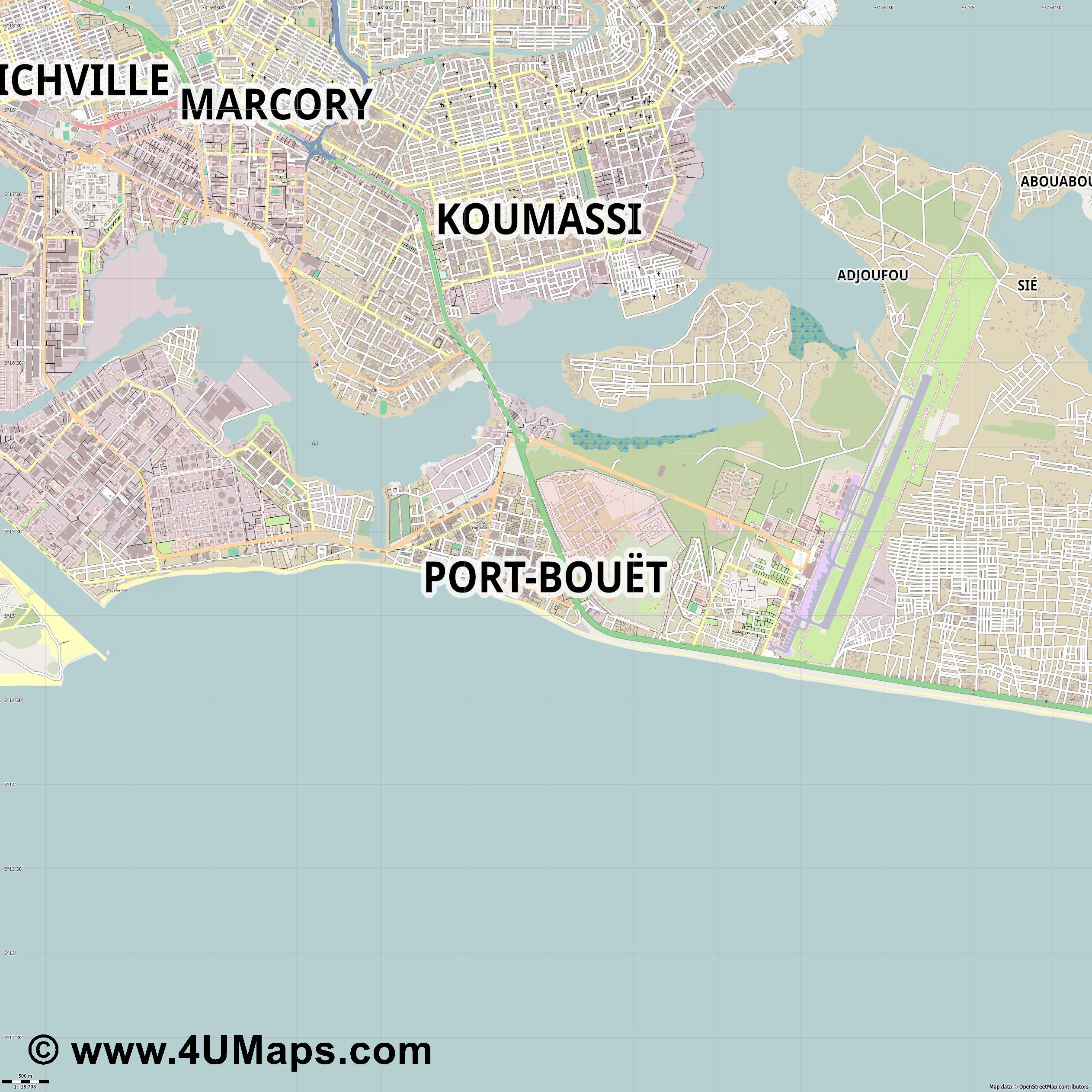Port Bouët  jpg ultra high detail preview vector city map