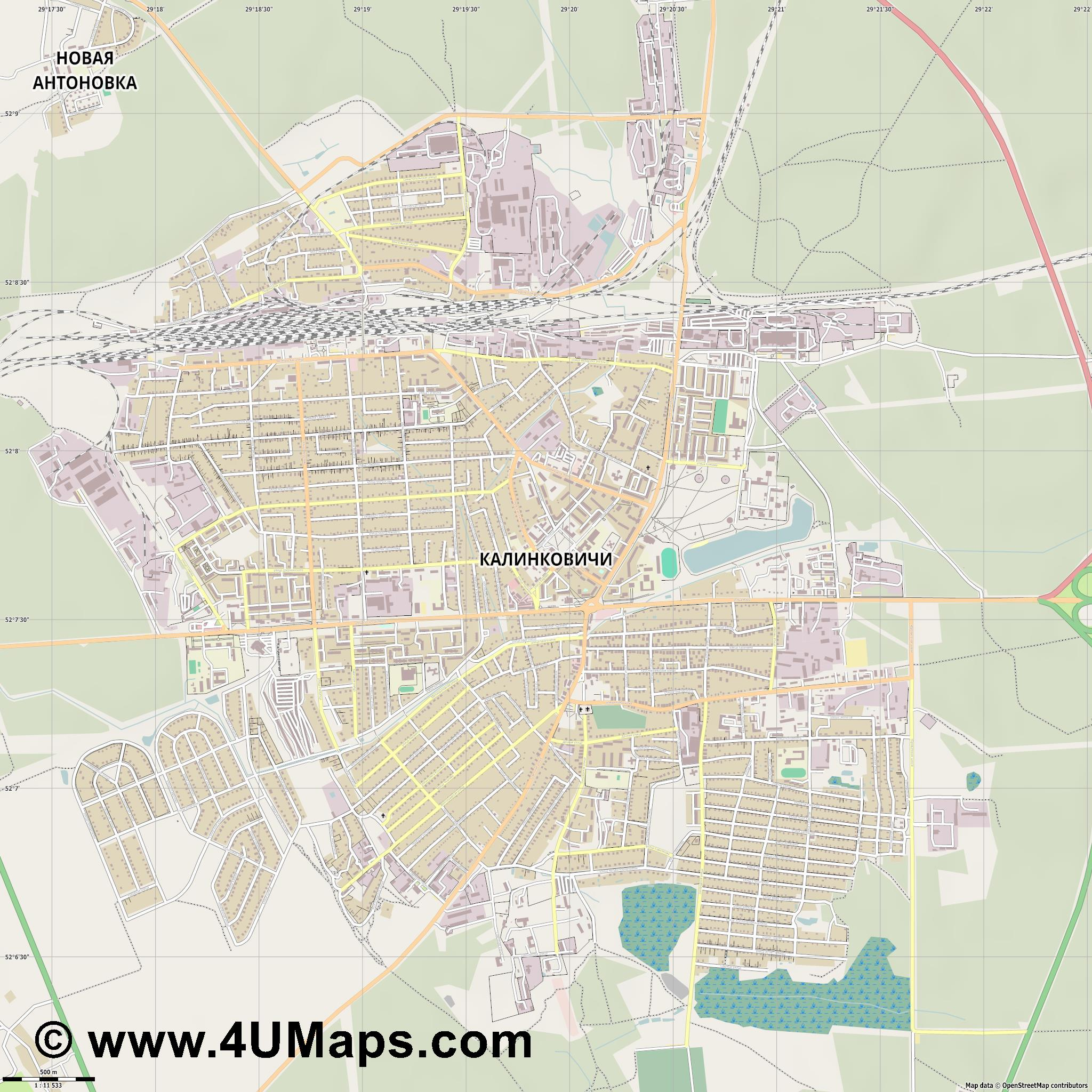 Калинковичи Kalinkavichy  jpg ultra high detail preview vector city map