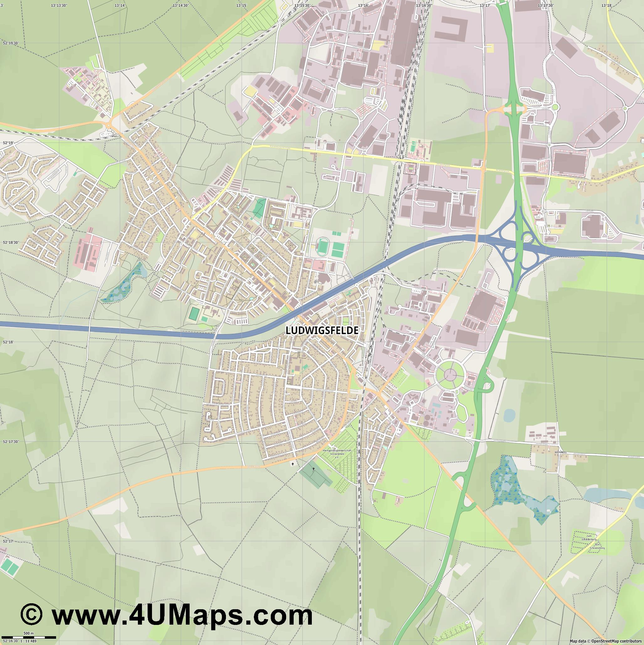 Ludwigsfelde  jpg ultra high detail preview vector city map
