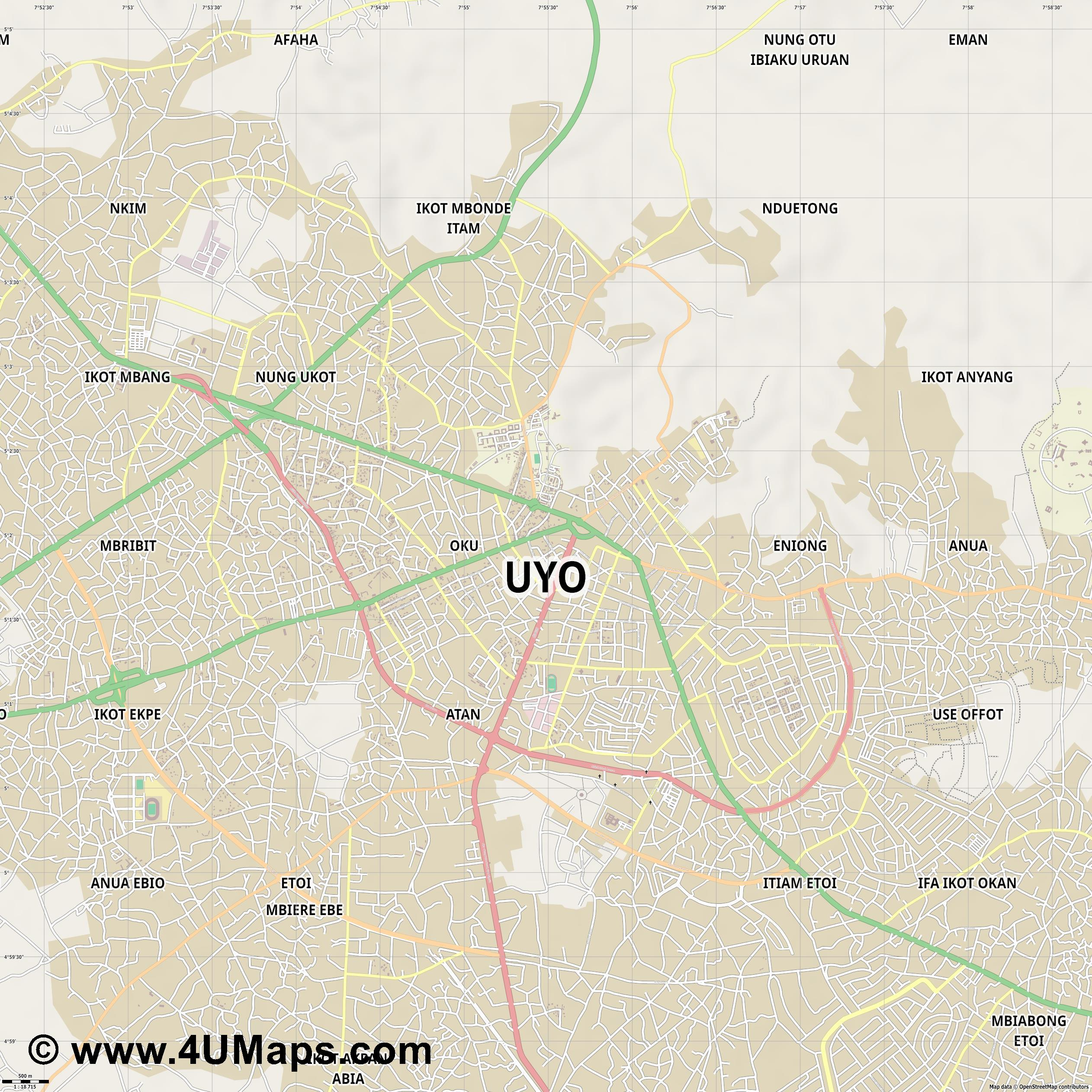 Uyo  jpg ultra high detail preview vector city map