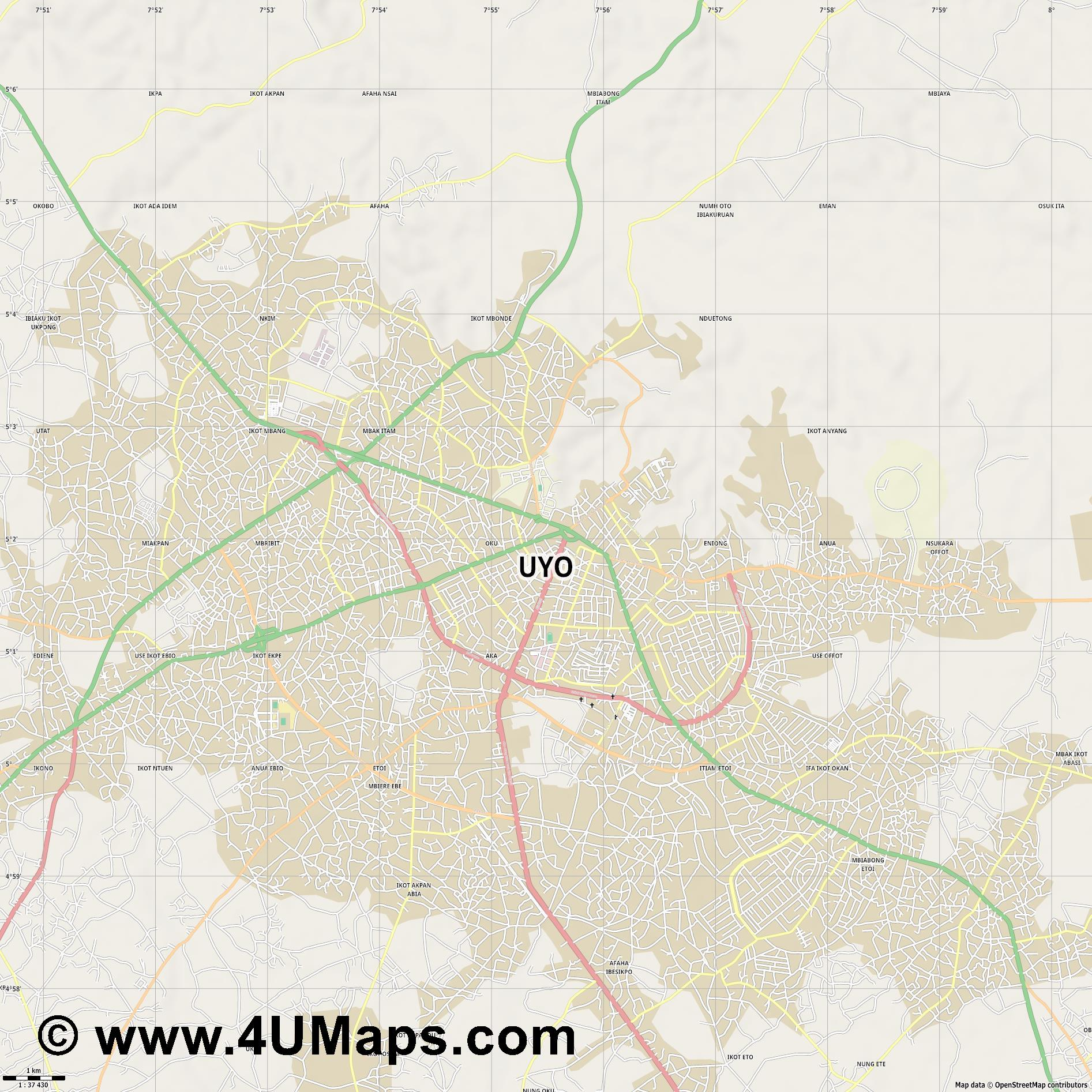 Uyo  jpg high detail, large area preview vector city map