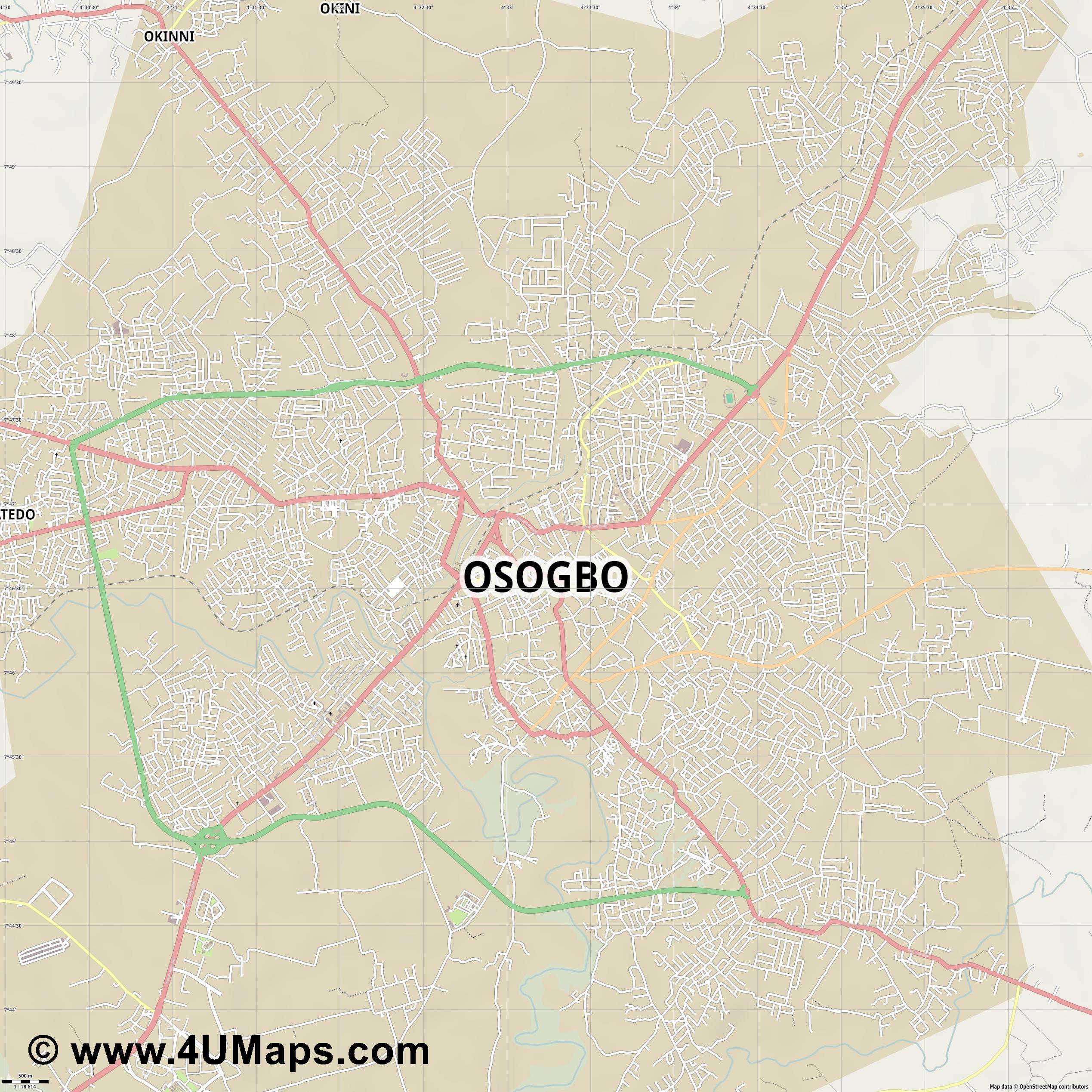 Osogbo  jpg ultra high detail preview vector city map