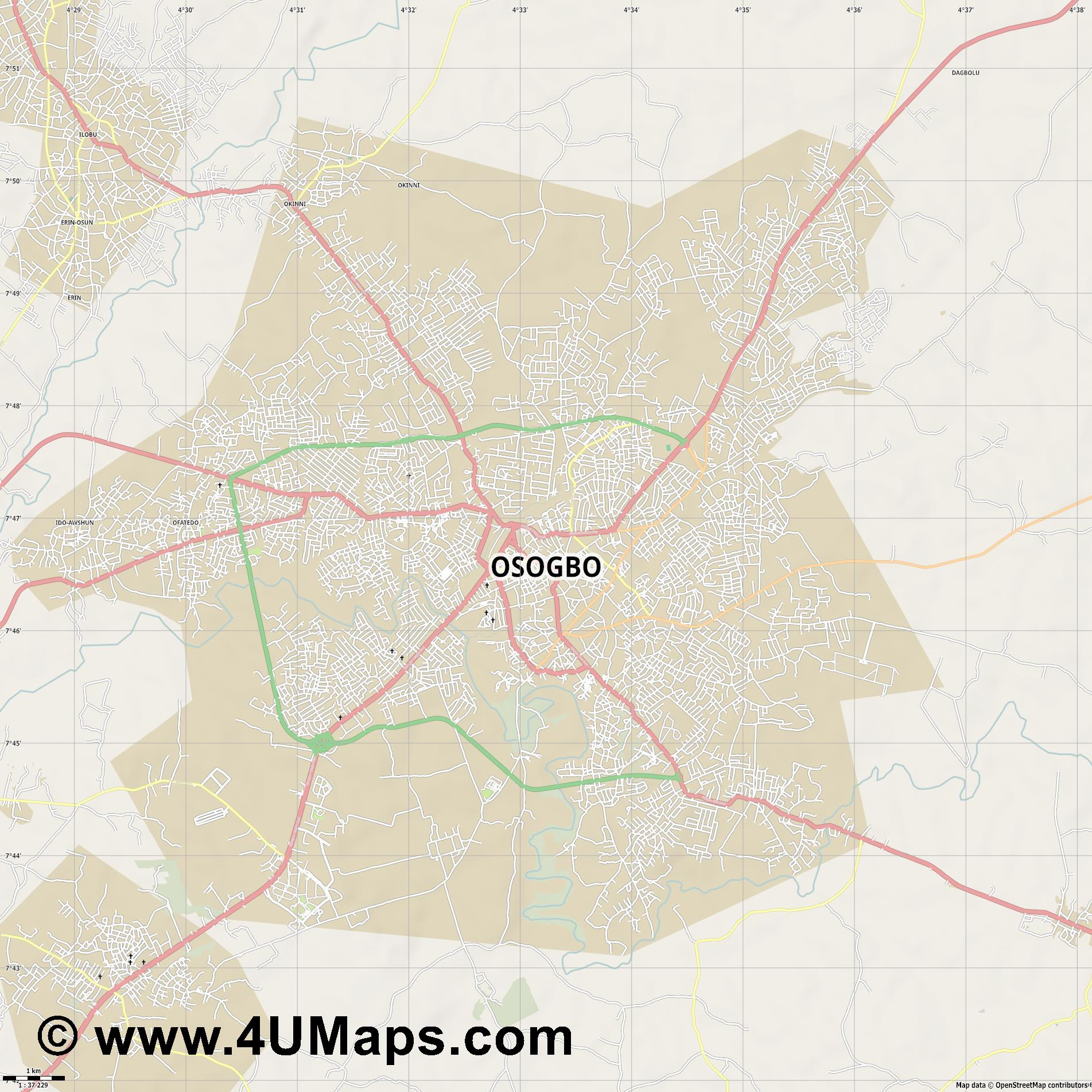 Osogbo  jpg high detail, large area preview vector city map
