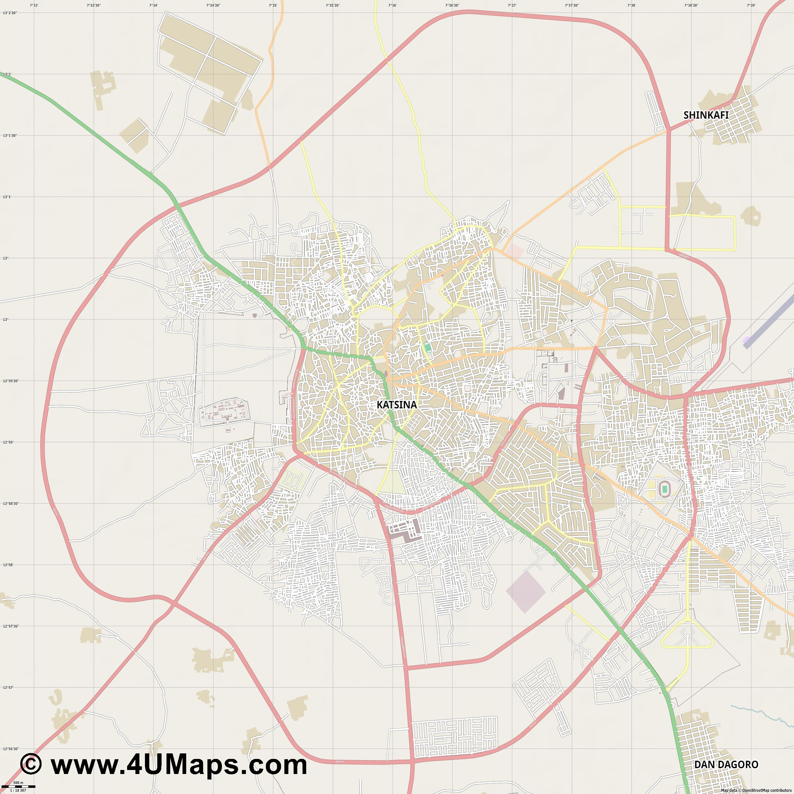 Katsina  jpg ultra high detail preview vector city map