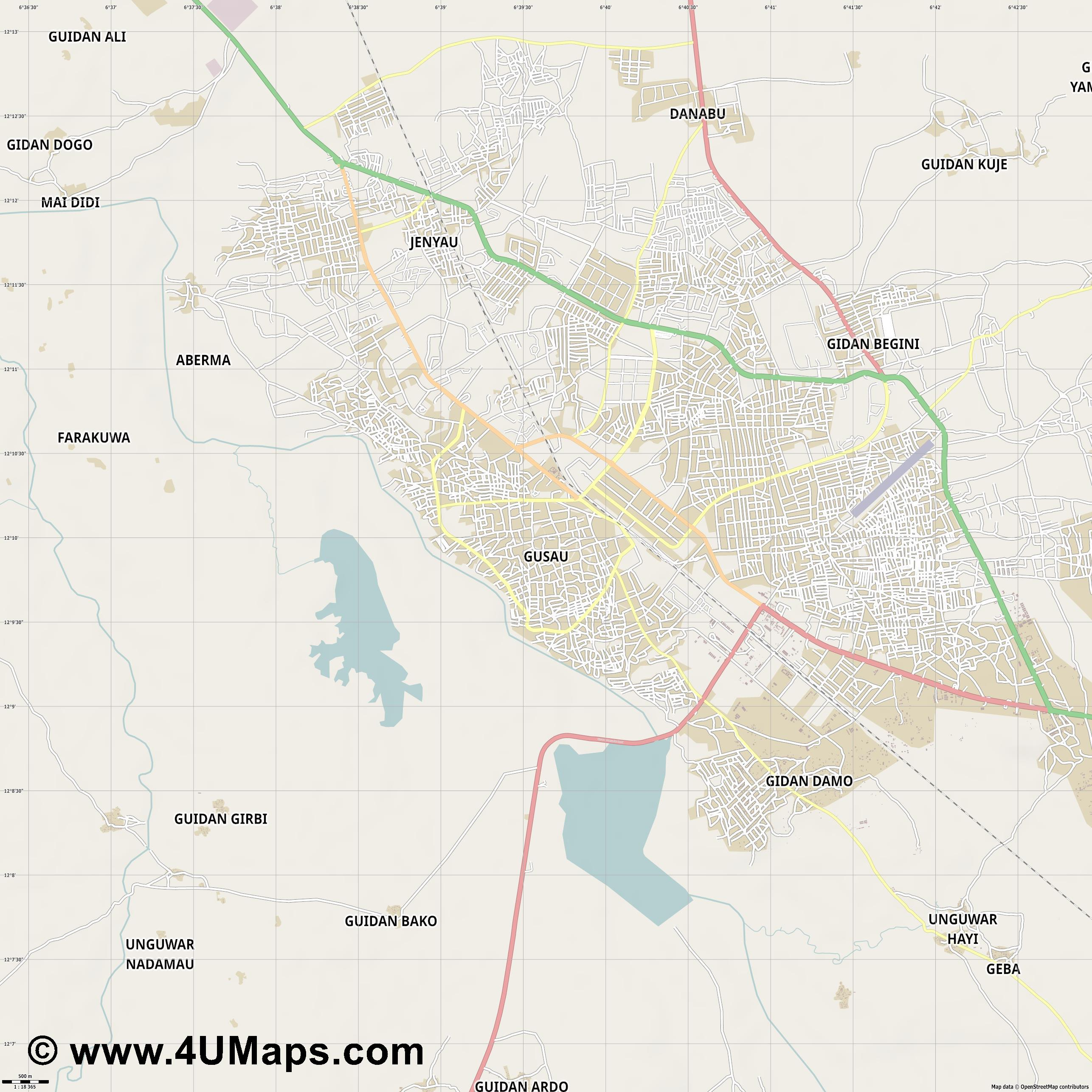 Gusau  jpg ultra high detail preview vector city map