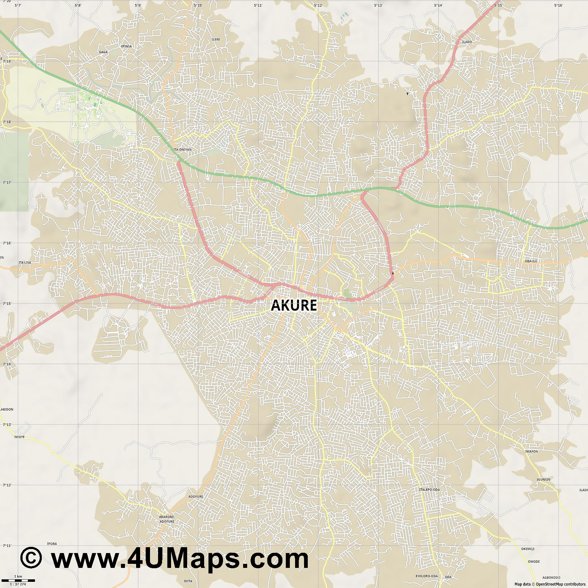 Akure  jpg high detail, large area preview vector city map