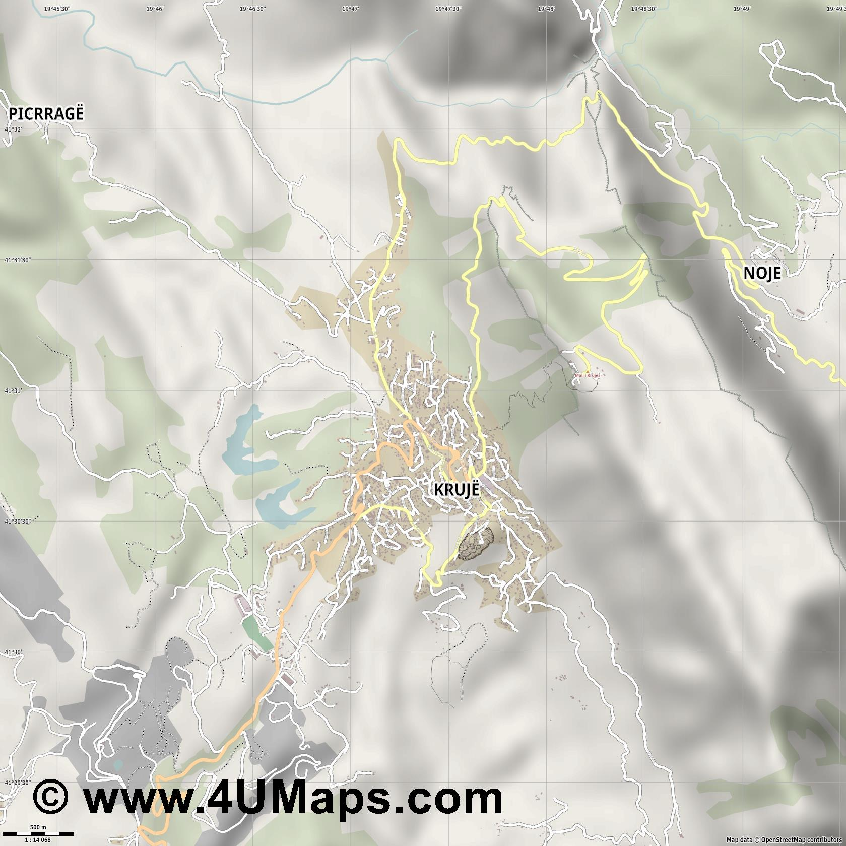 Krujë Kruje  jpg ultra high detail preview vector city map
