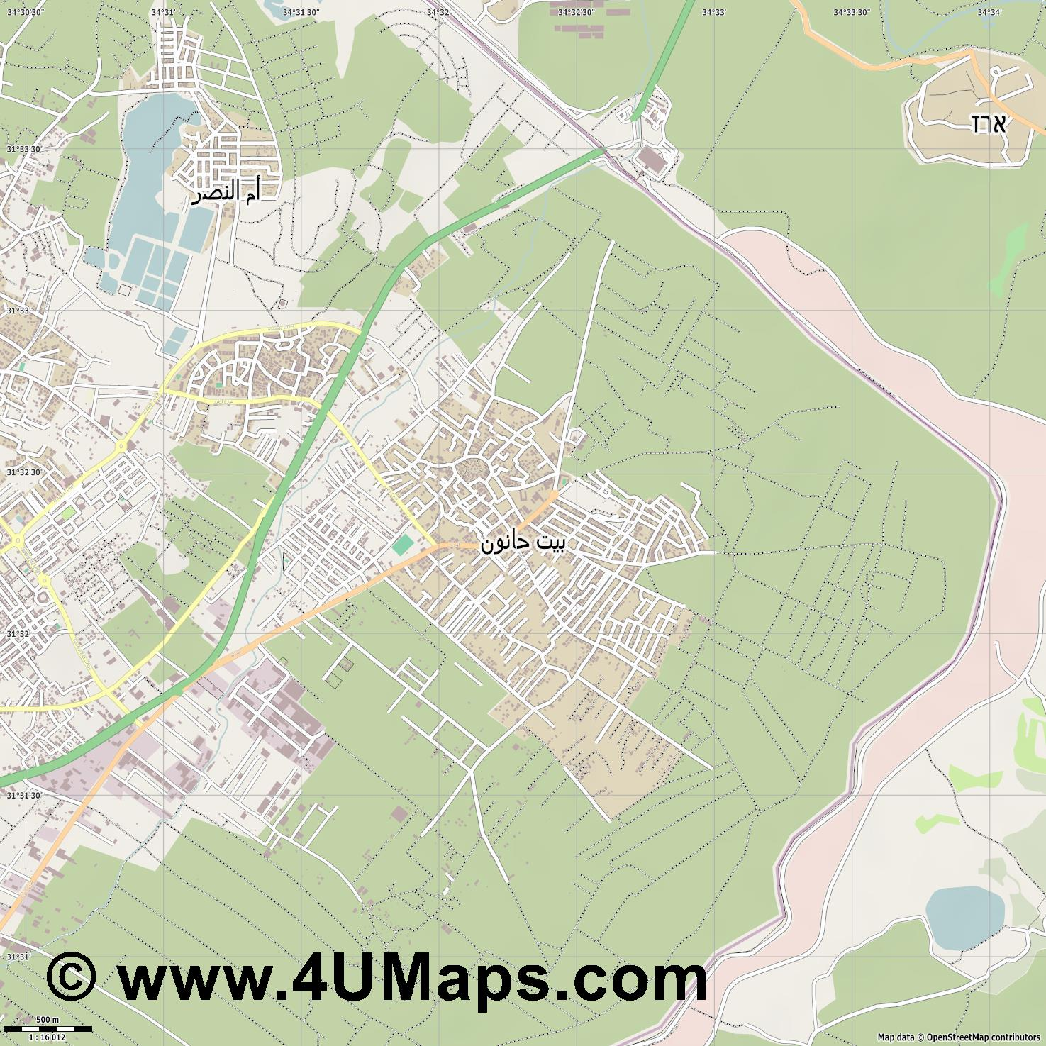 بيت حانون Beit Hanun Beit Hanoun  jpg ultra high detail preview vector city map