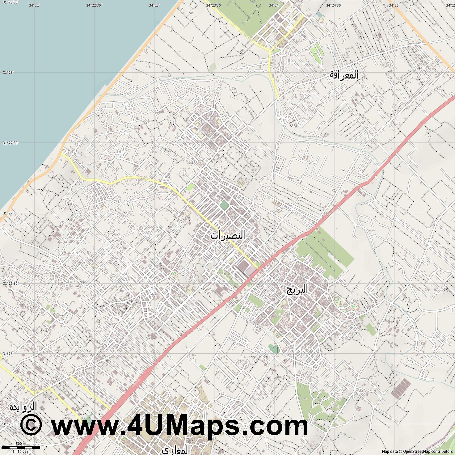 مخي م النصيرات Nuseirat Refugee Camp Flüchtlingslager Nurseirat  jpg ultra high detail preview vector city map