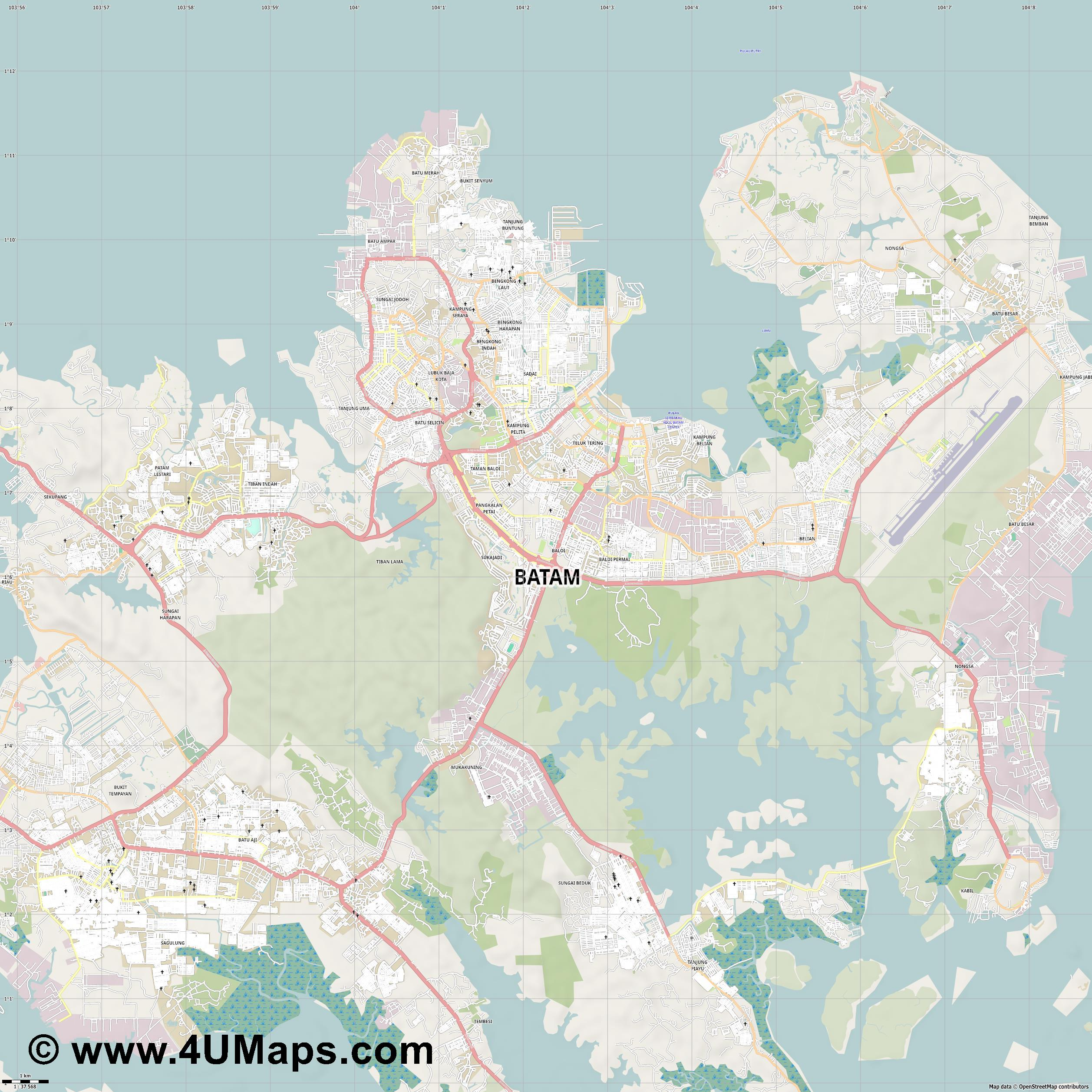 Batam Batam City  jpg high detail, large area preview vector city map