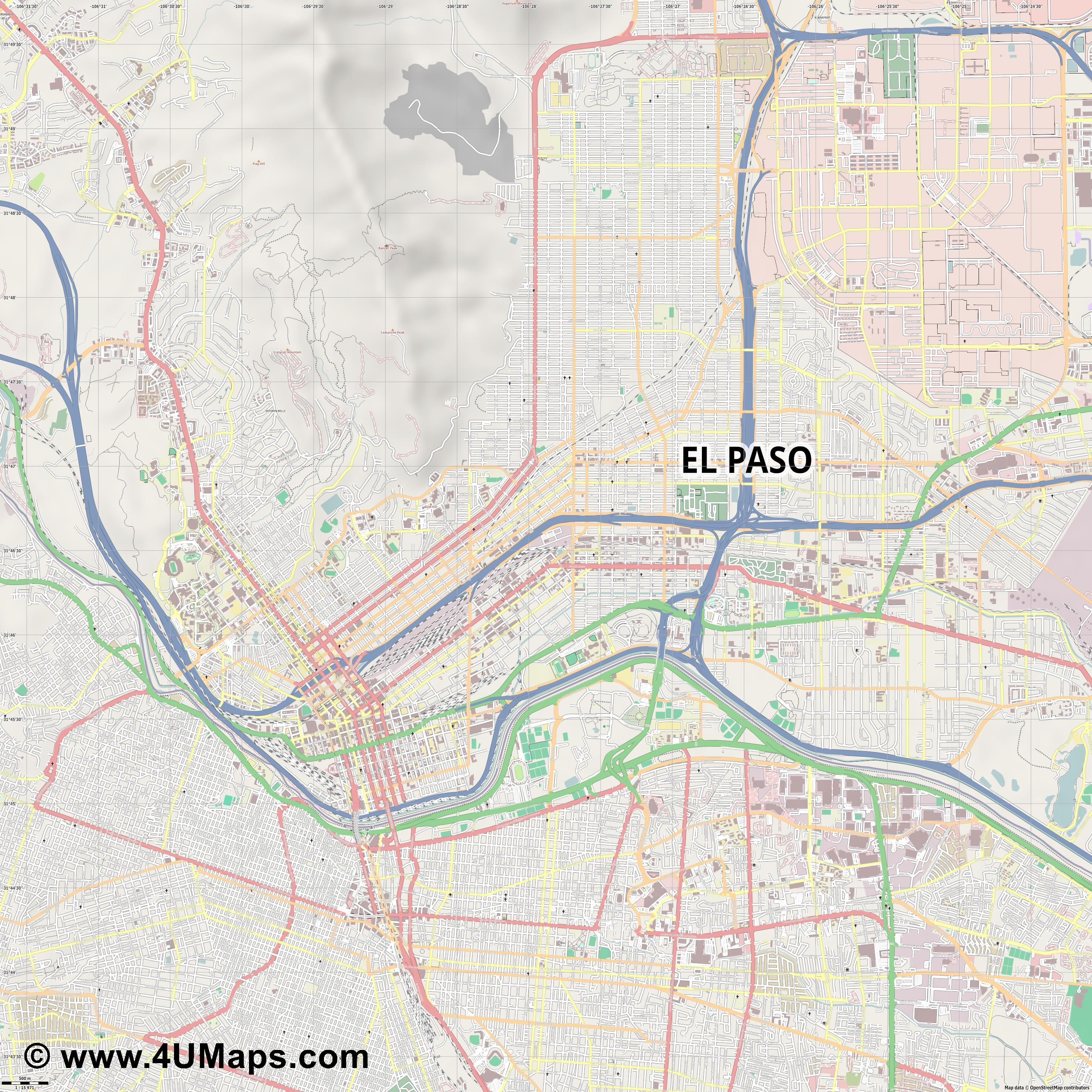El Paso  jpg ultra high detail preview vector city map