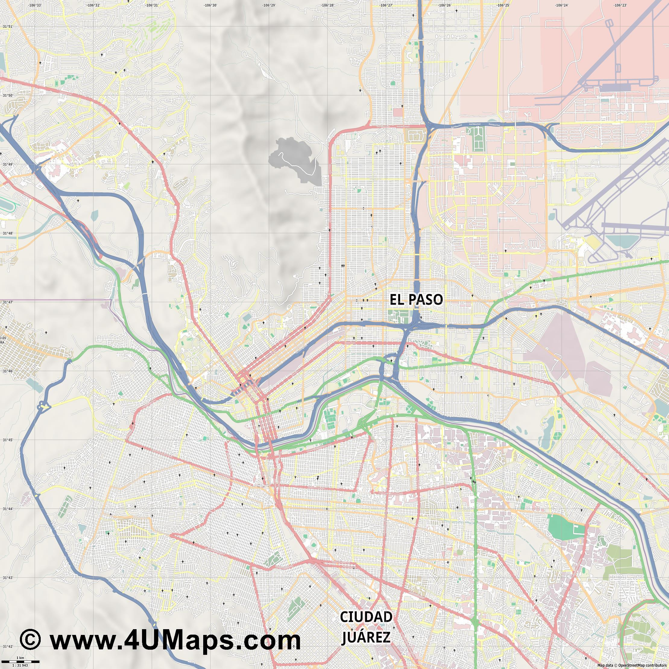 El Paso  jpg high detail, large area preview vector city map
