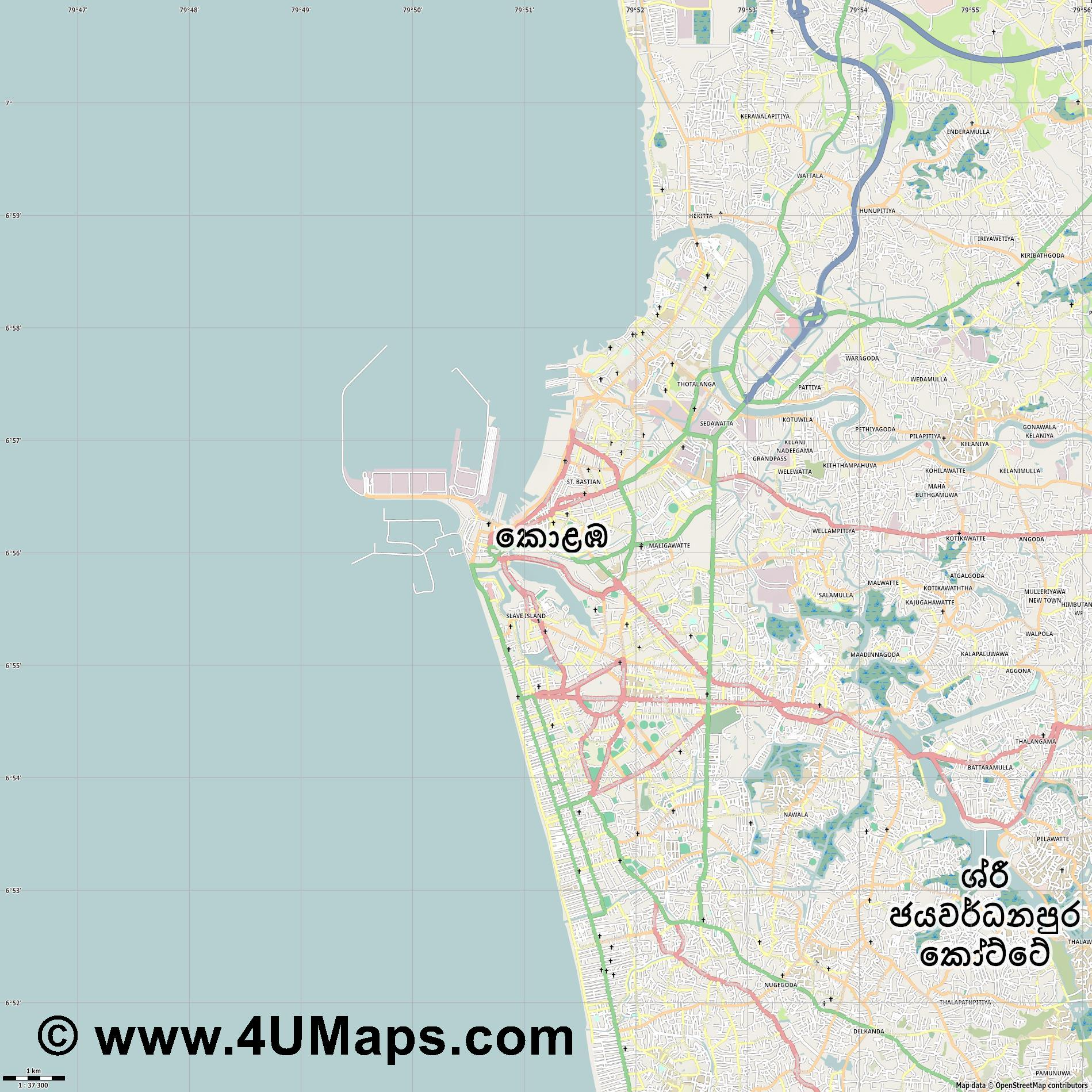 Colombo  jpg high detail, large area preview vector city map