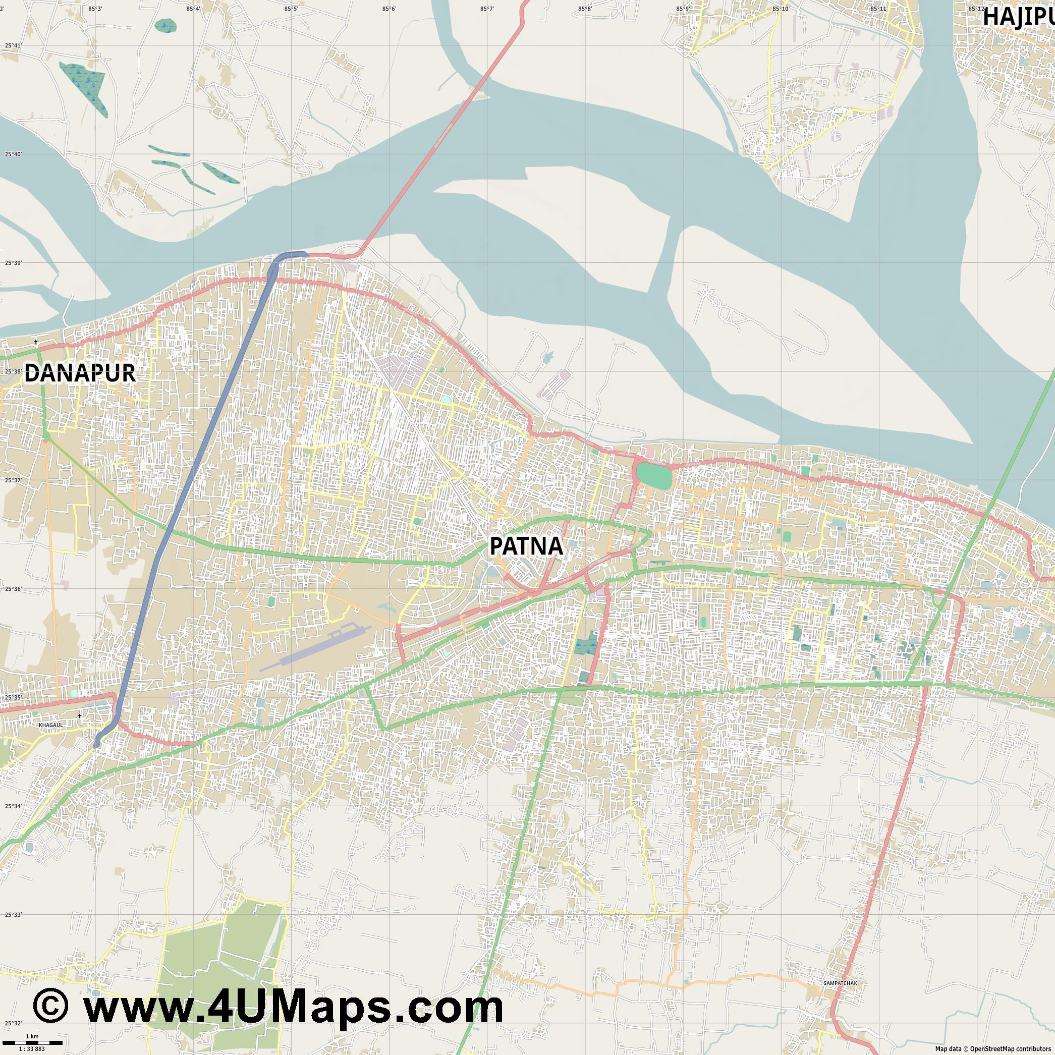 Patna  jpg high detail, large area preview vector city map