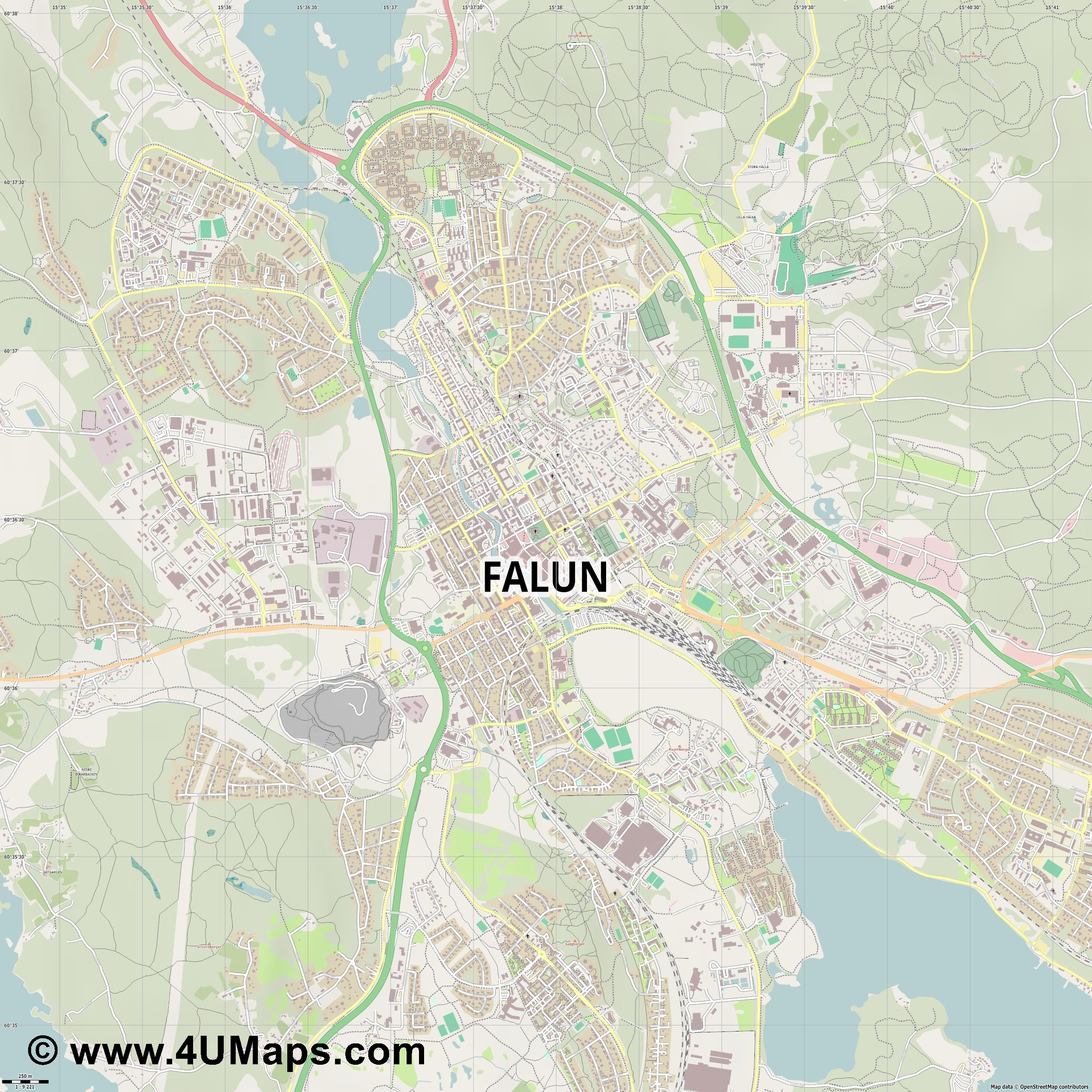 Falun  jpg ultra high detail preview vector city map