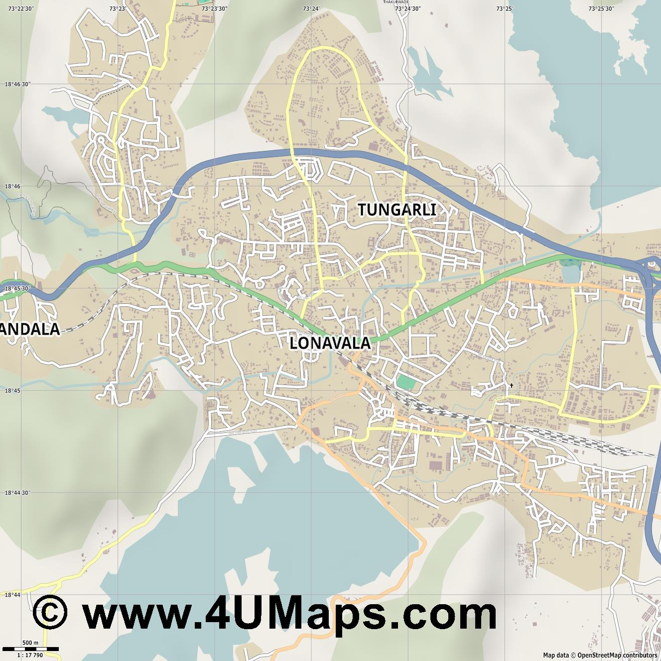 Lonavala  jpg ultra high detail preview vector city map
