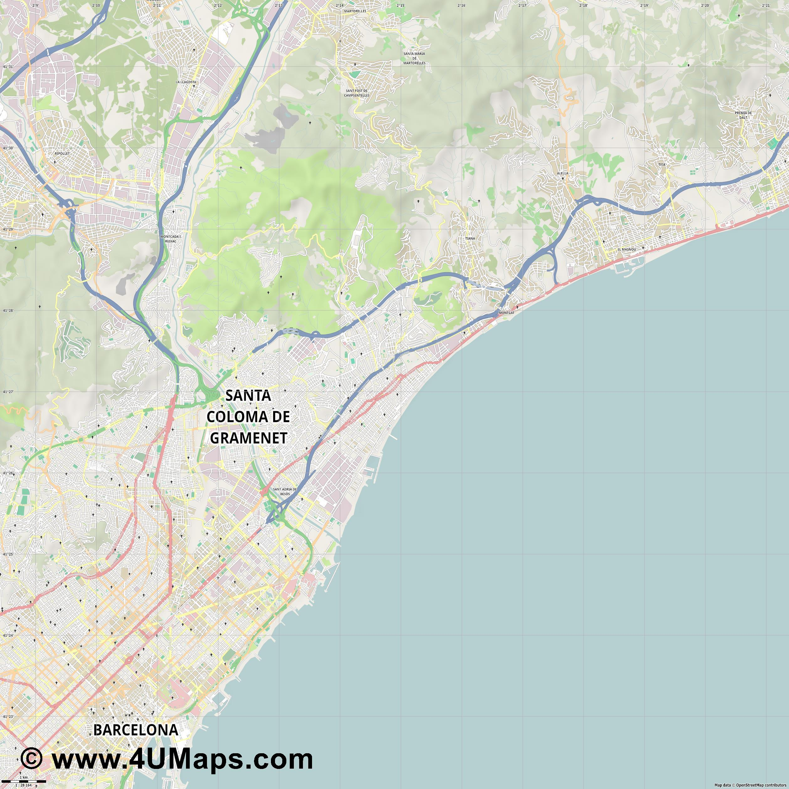Badalona  jpg high detail, large area preview vector city map