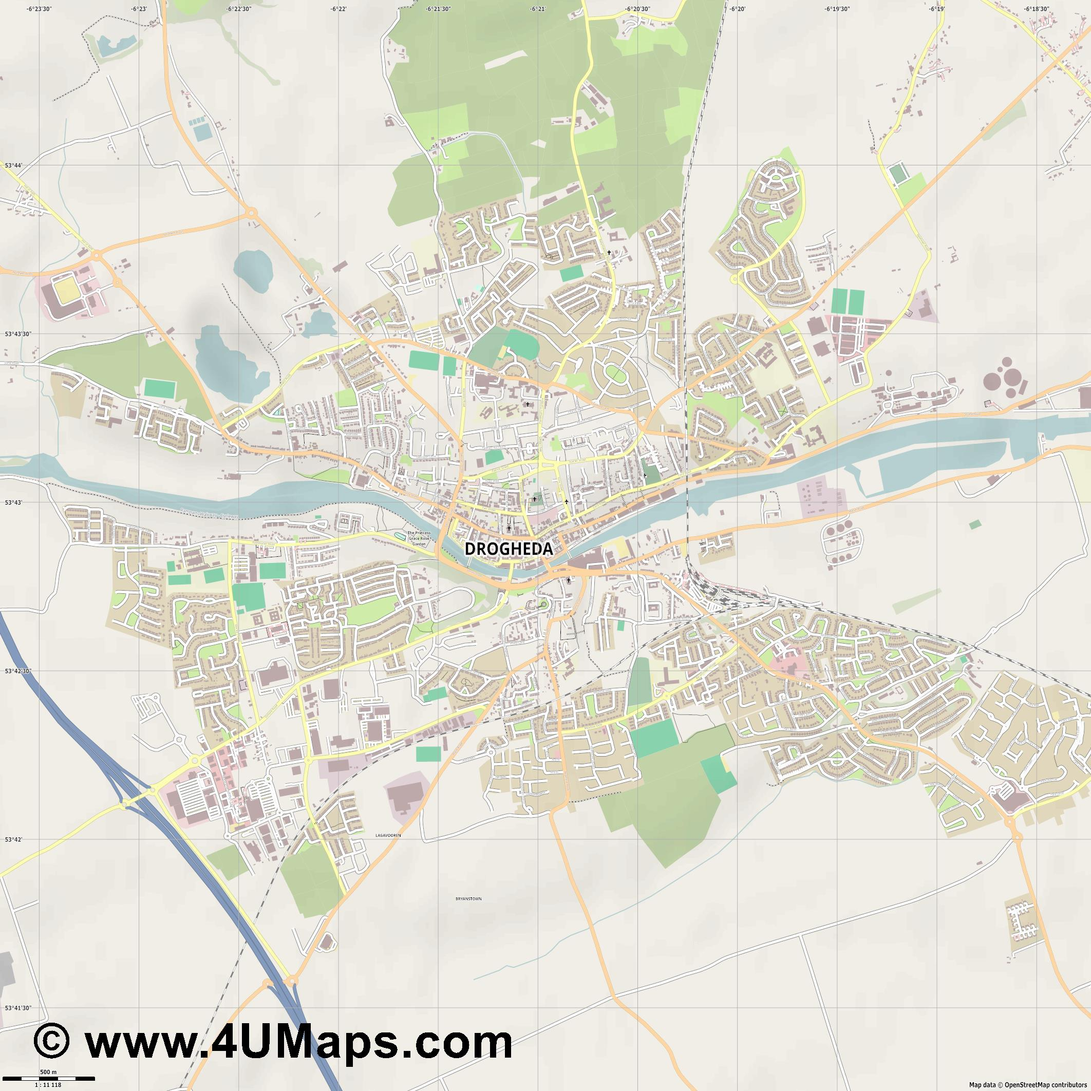 Drogheda  jpg ultra high detail preview vector city map