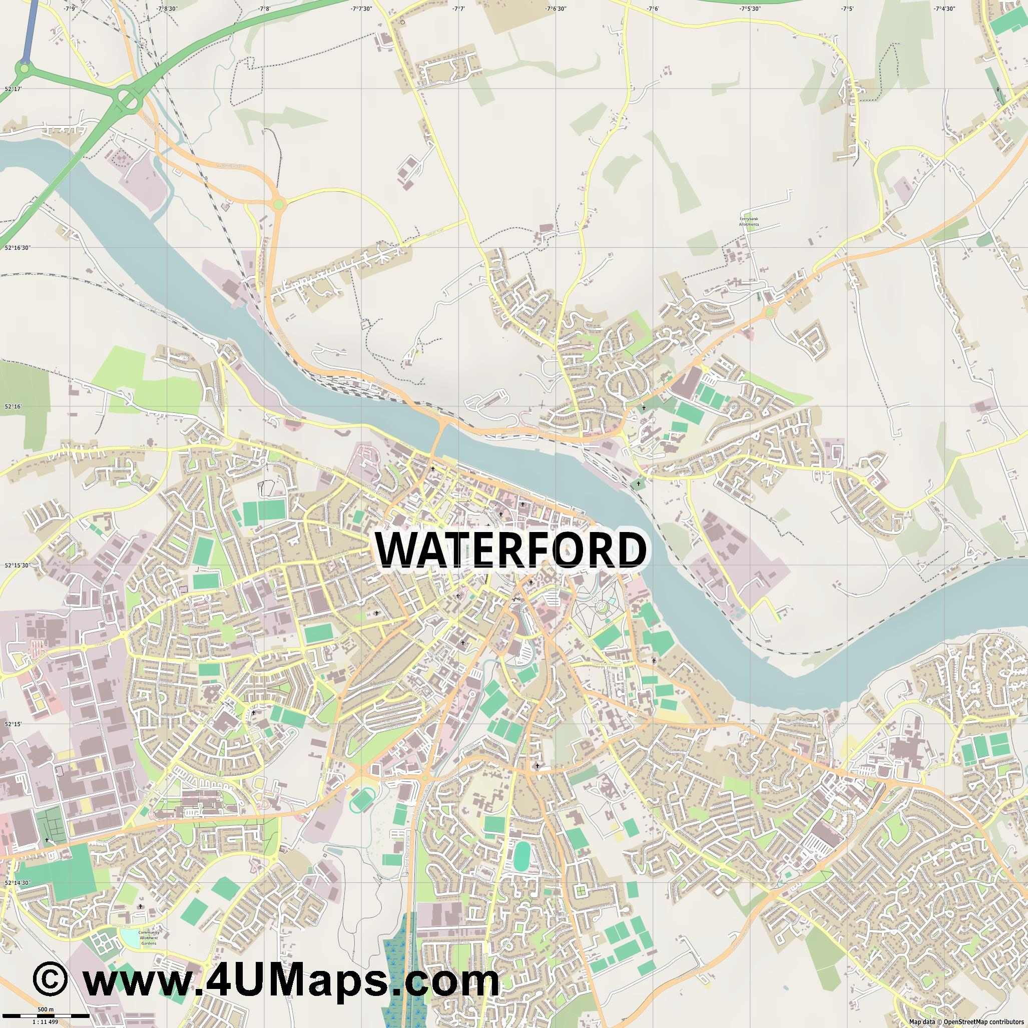 Waterford  jpg ultra high detail preview vector city map