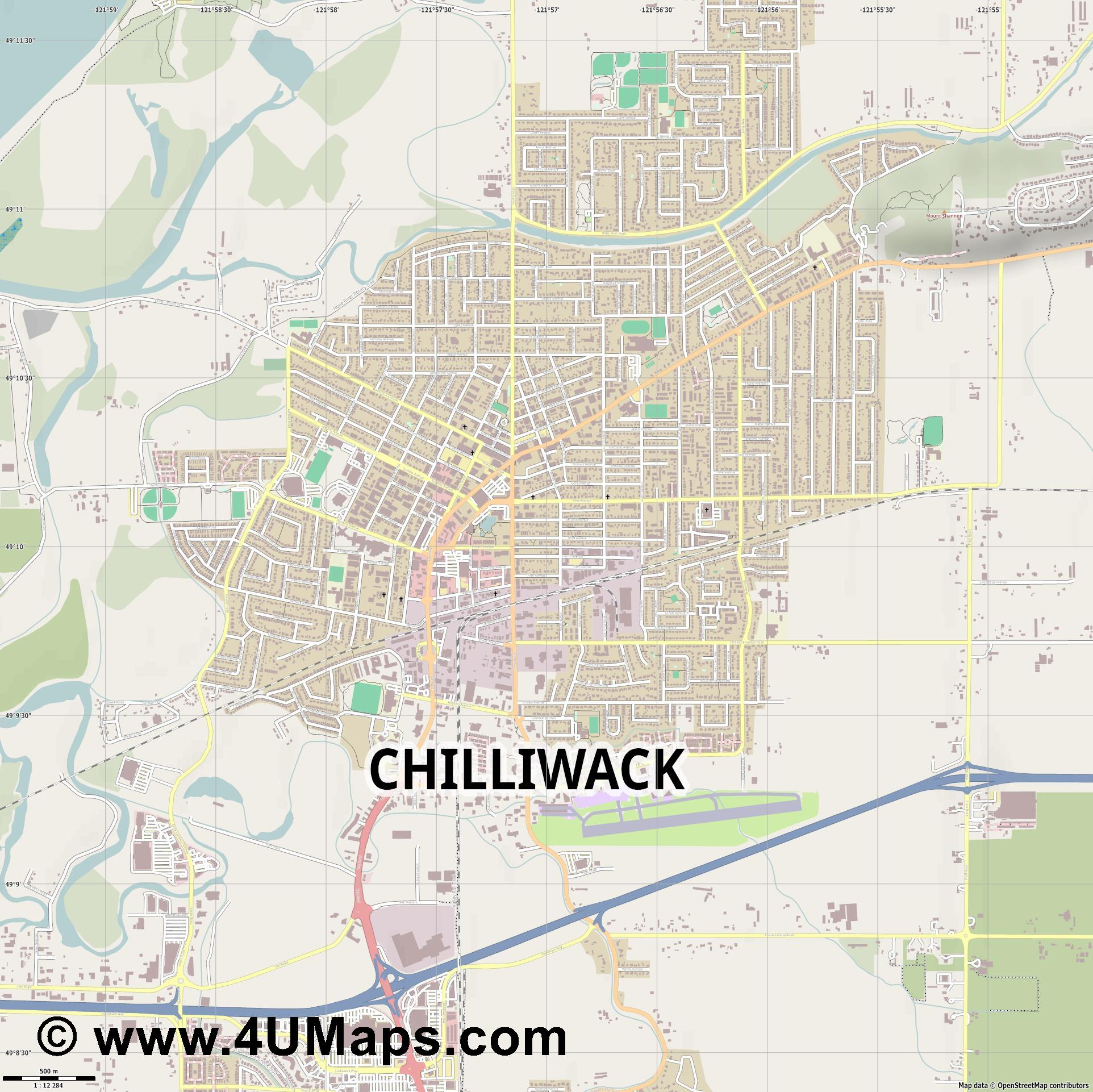 Chilliwack  jpg ultra high detail preview vector city map